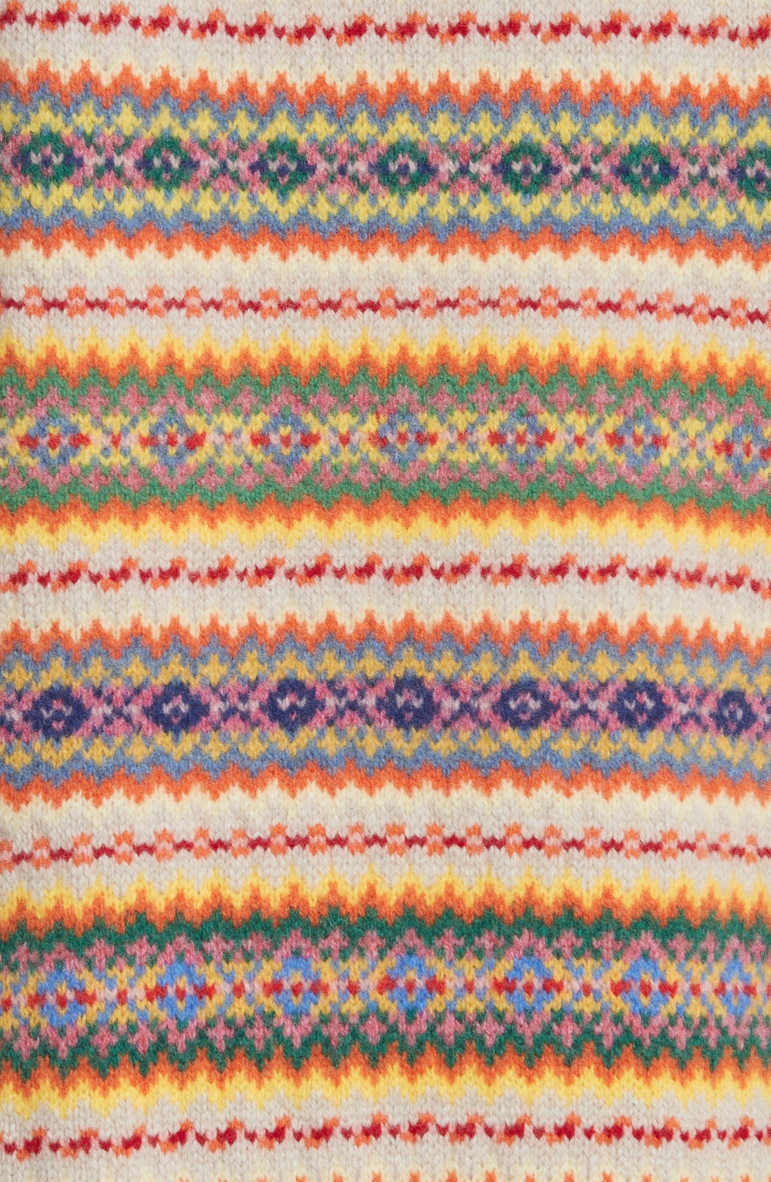 Shetland Wool Fair Isle Sweater,                             Alternate thumbnail 5, color,                             Multicolor