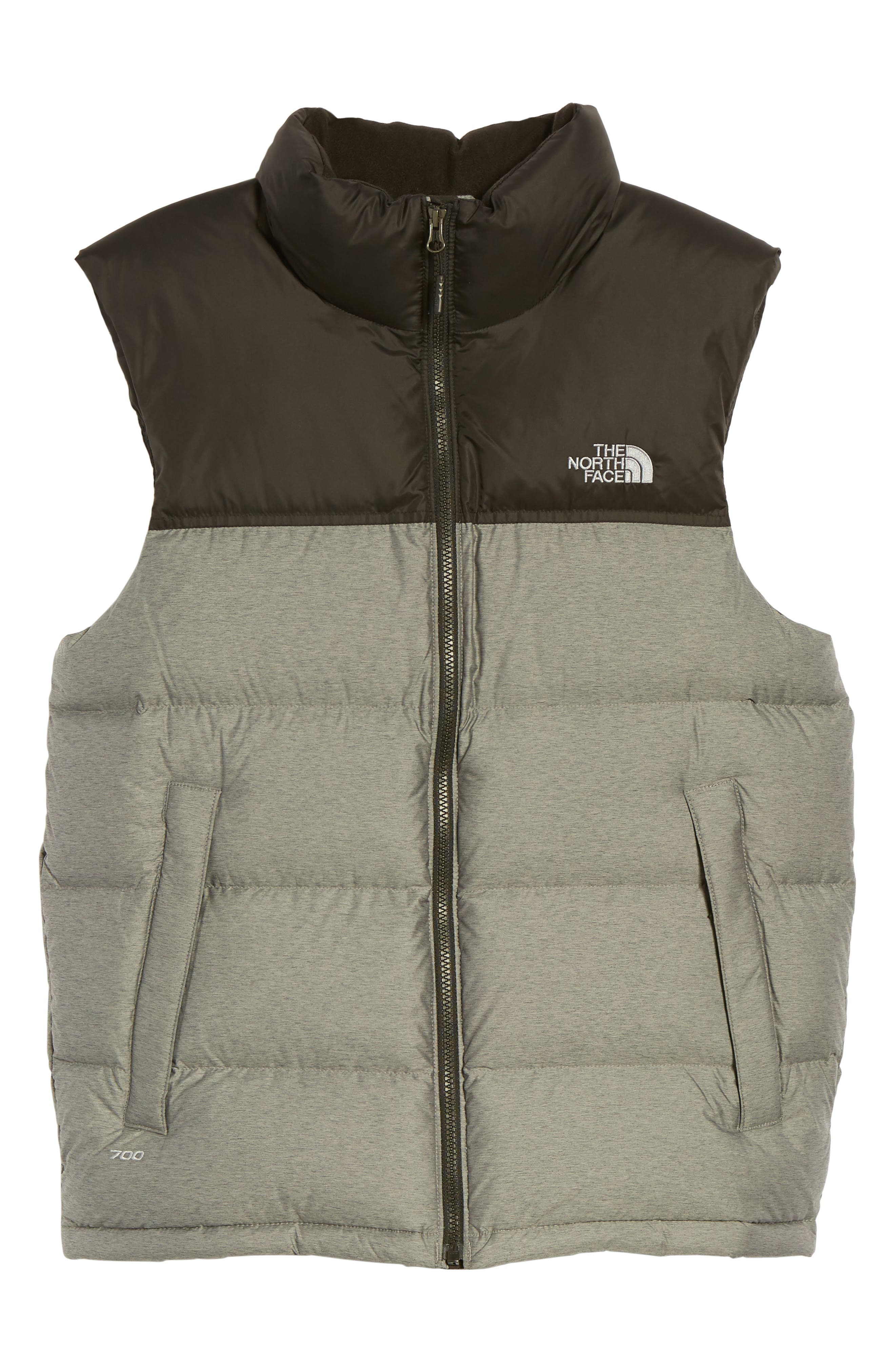 Nuptse Water Repellent Down Vest,                             Main thumbnail 1, color,                             Medium Grey Heather/ Black