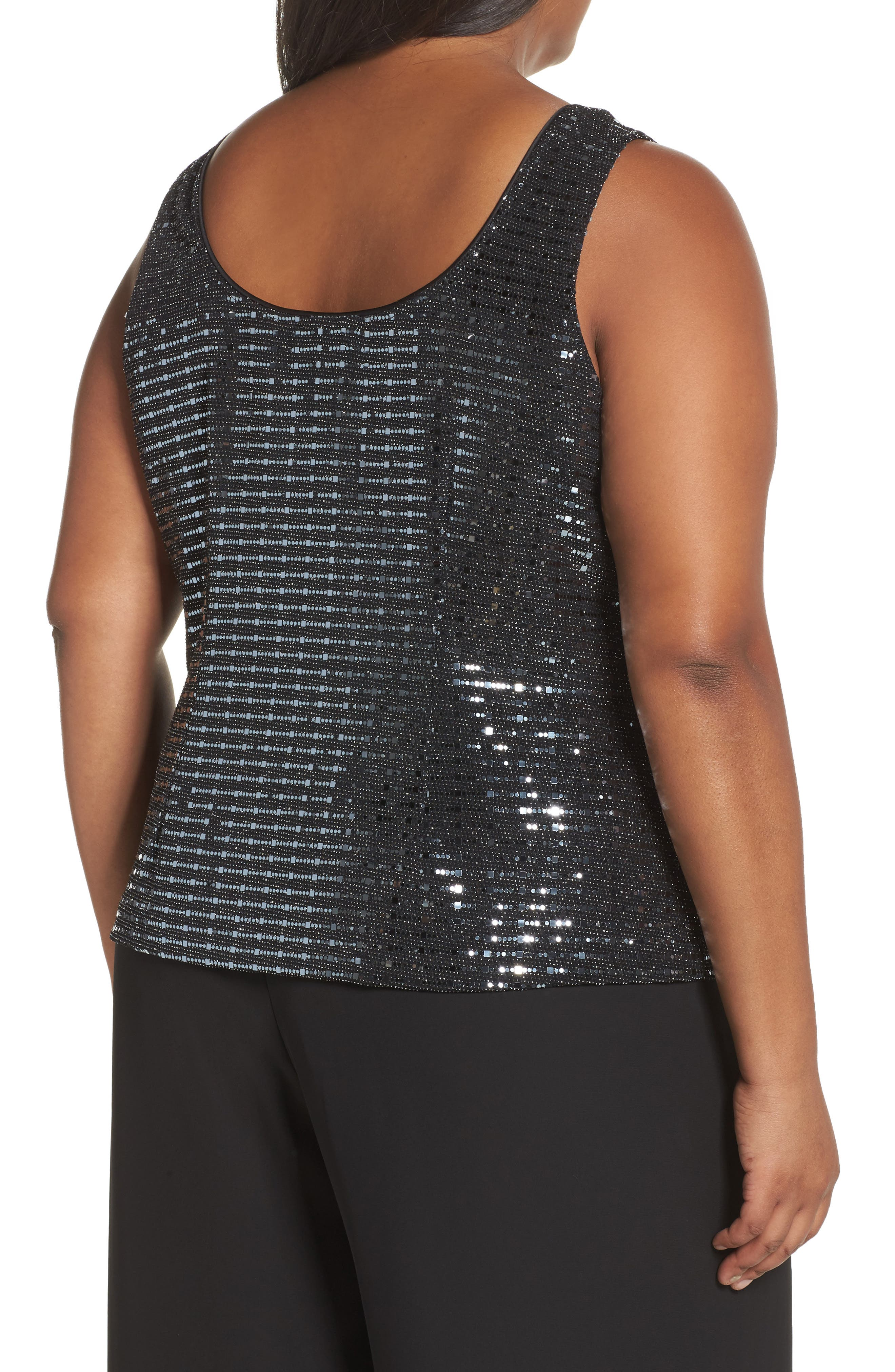 Alternate Image 3  - Alex Evenings Sequin Mandarian Collar Twinset (Plus Size)