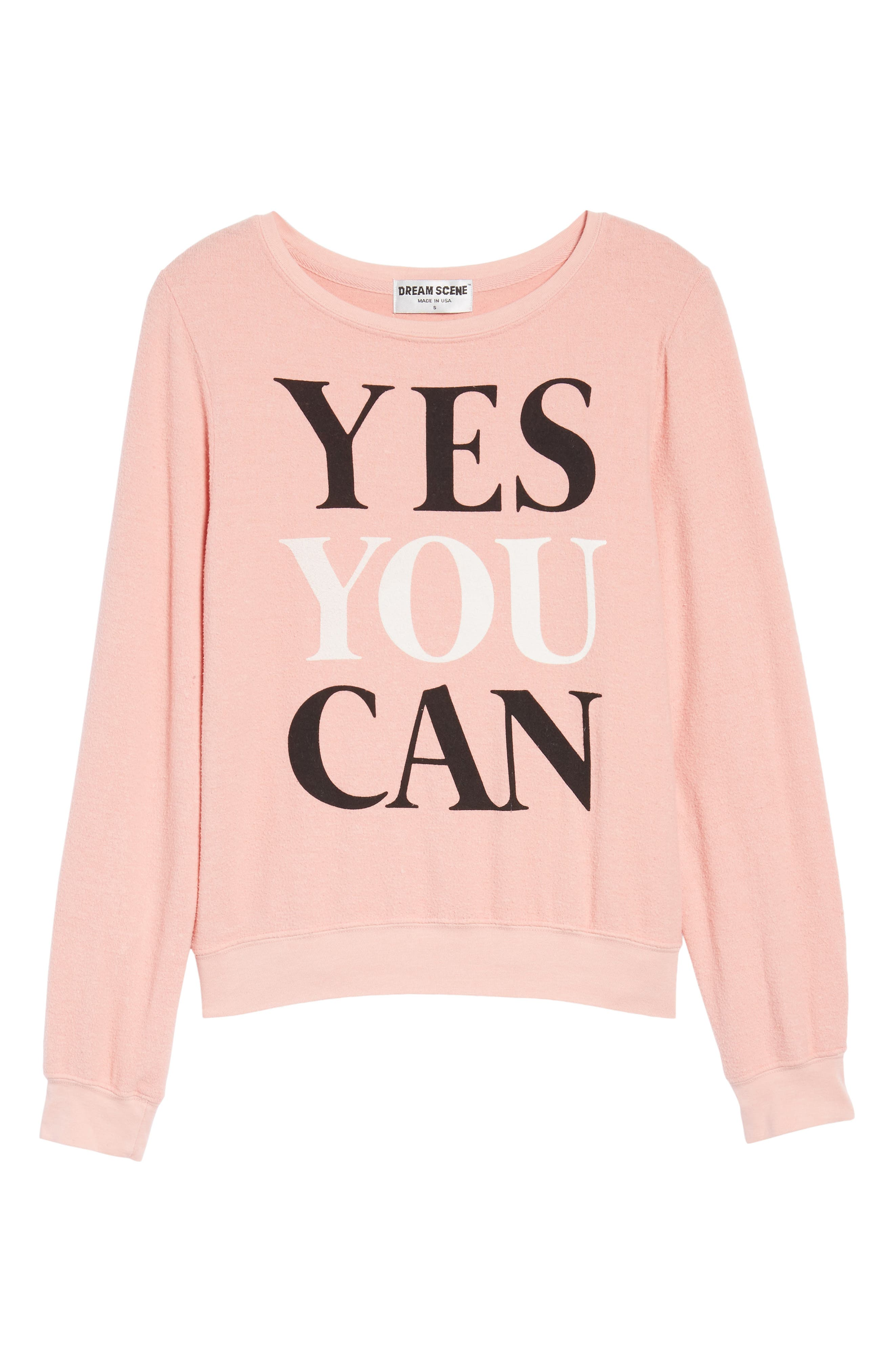 Yes You Can Sweatshirt,                             Alternate thumbnail 6, color,                             Peony