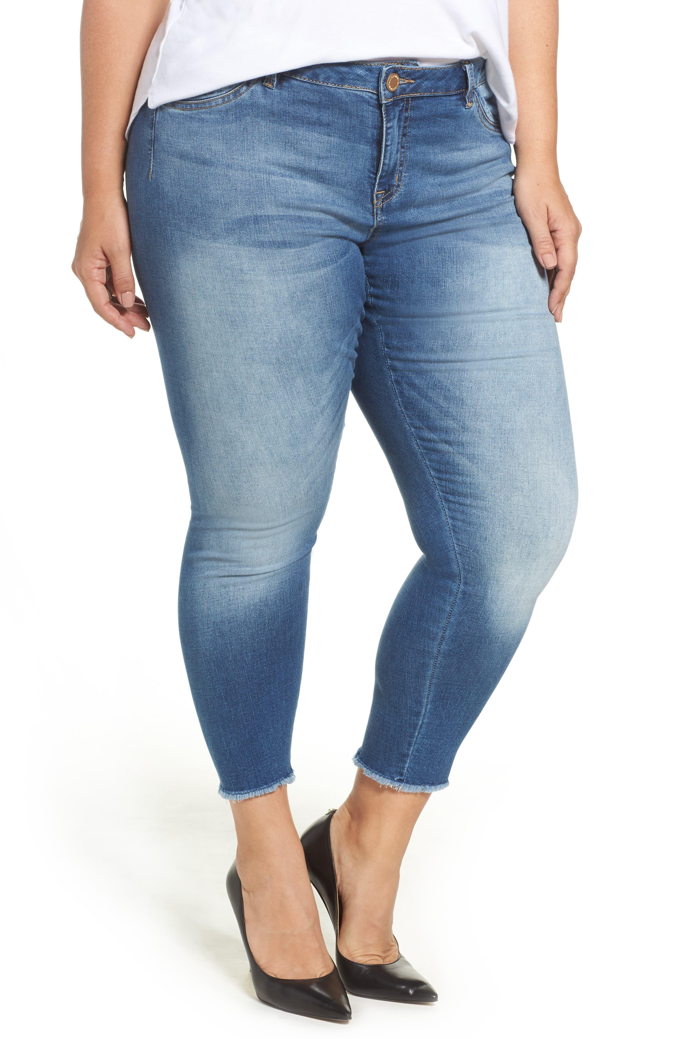 Alternate Image 1 Selected - Wit & Wisdom Frayed Hem Skinny Jeans (Plus Size) (Nordstrom Exclusive)