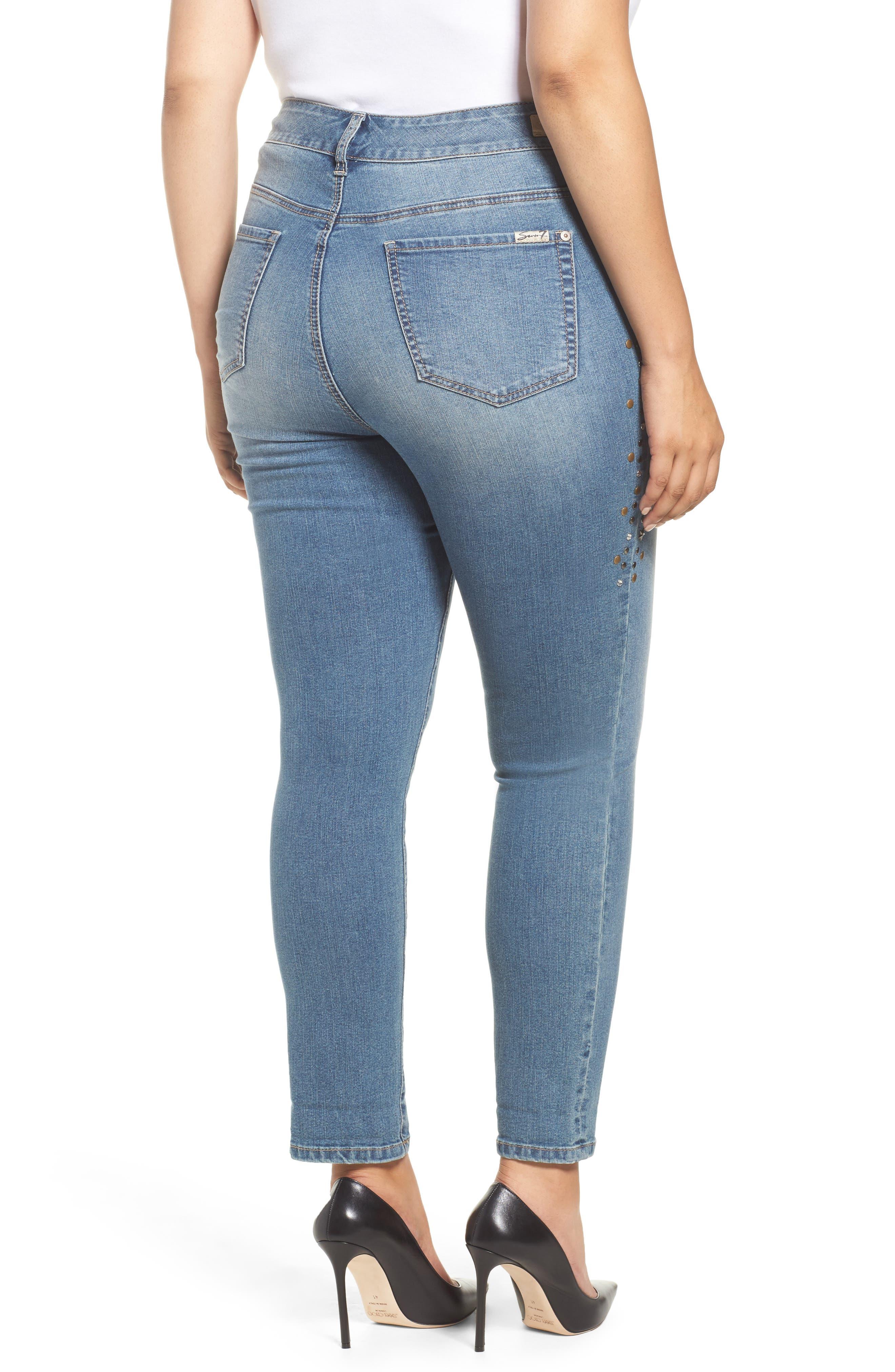 Stone Detail Skinny Jeans,                             Alternate thumbnail 2, color,                             Daphne
