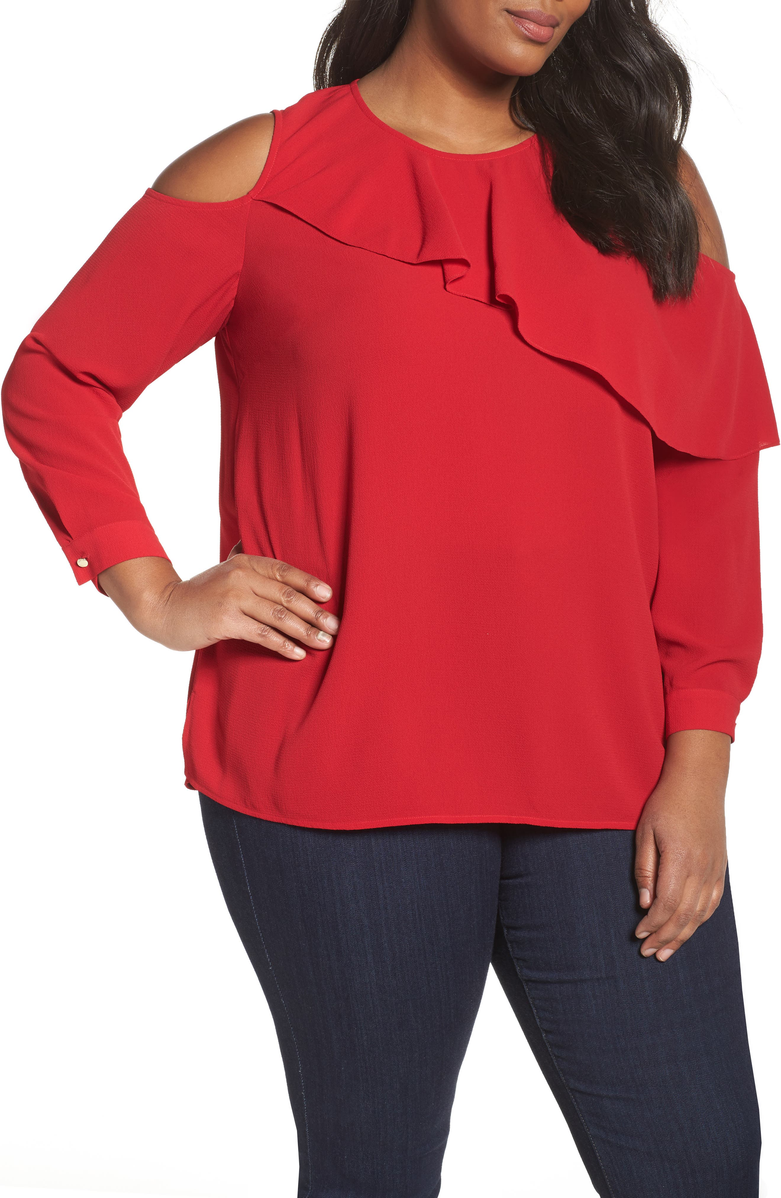 Alternate Image 1 Selected - Vince Camuto Asymmetrical Ruffle Cold Shoulder Top (Plus Size)