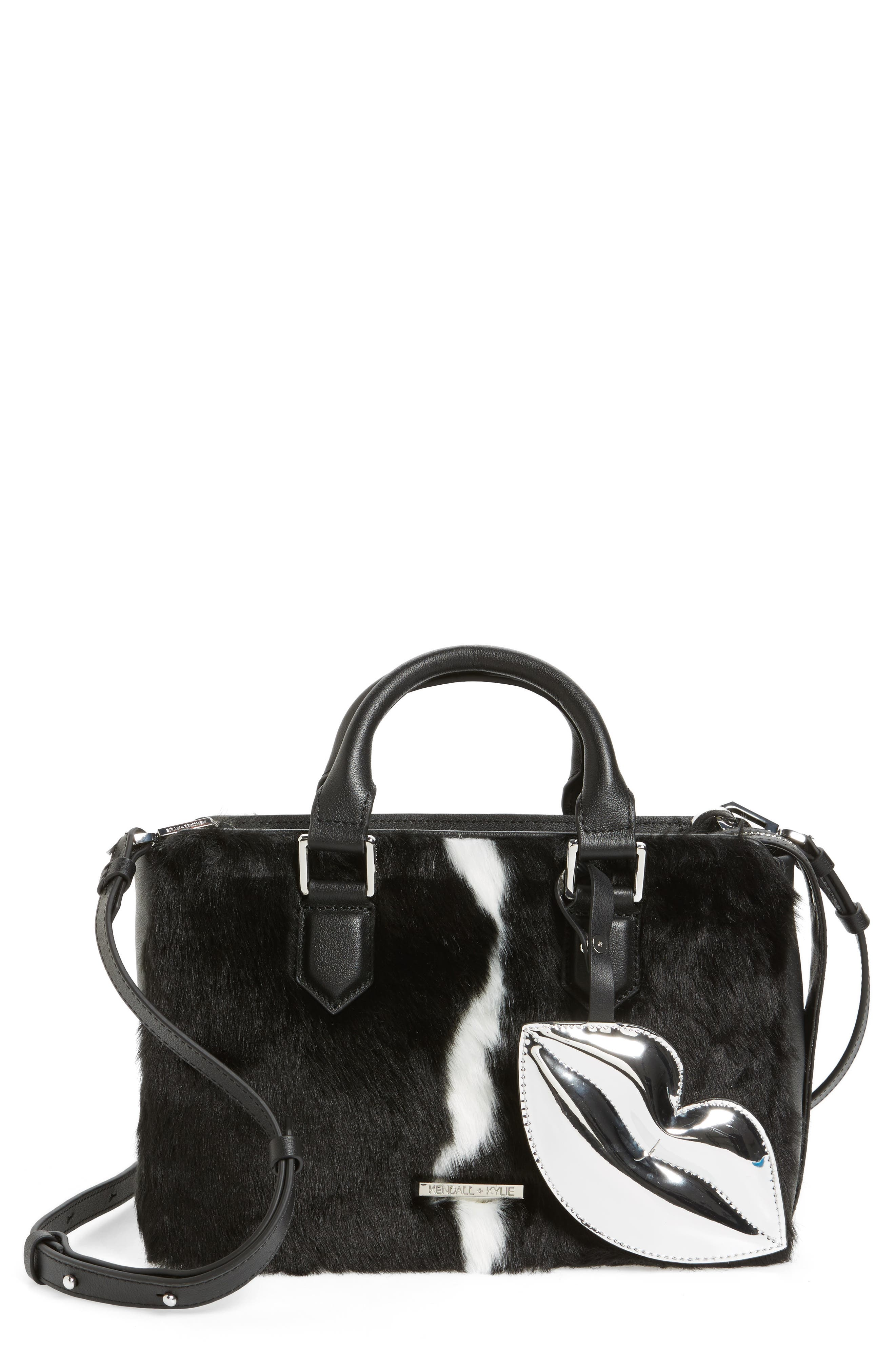 Main Image - KENDALL + KYLIE Claire Faux Fur & Leather Satchel