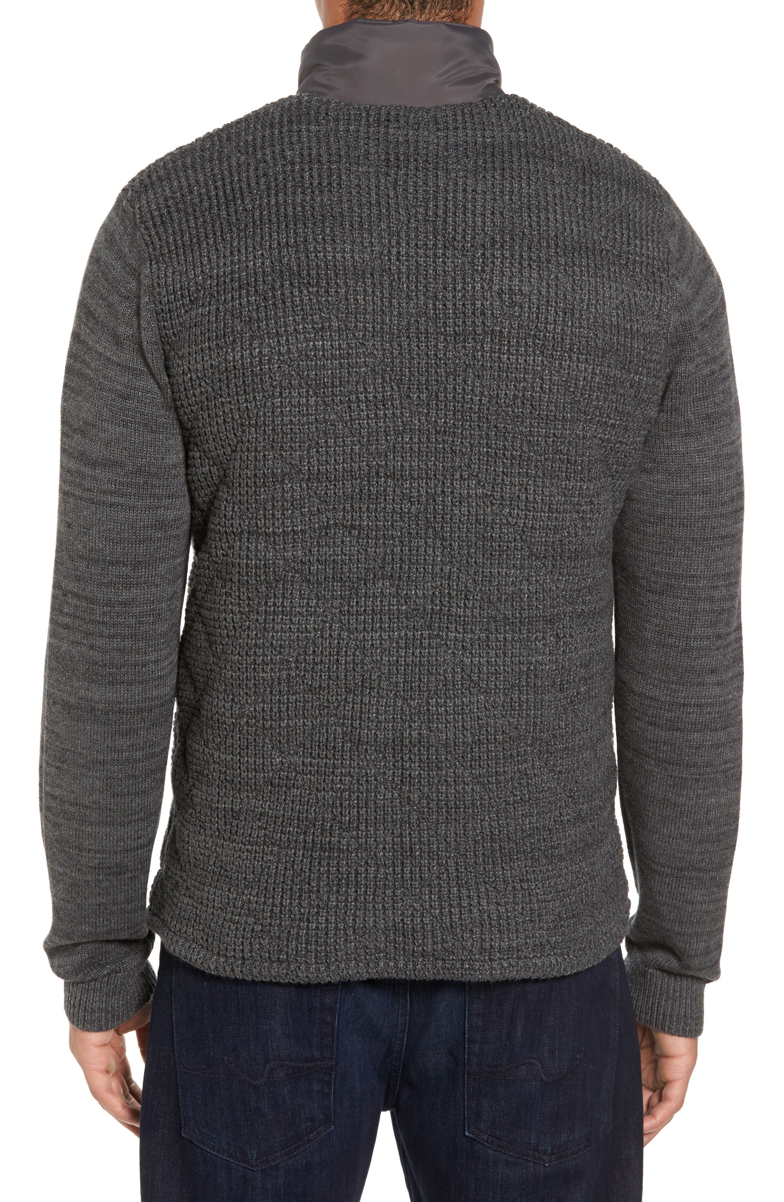 Mixed Media Full Zip Sweater,                             Alternate thumbnail 2, color,                             Grey Dark Charcoal Spacedye