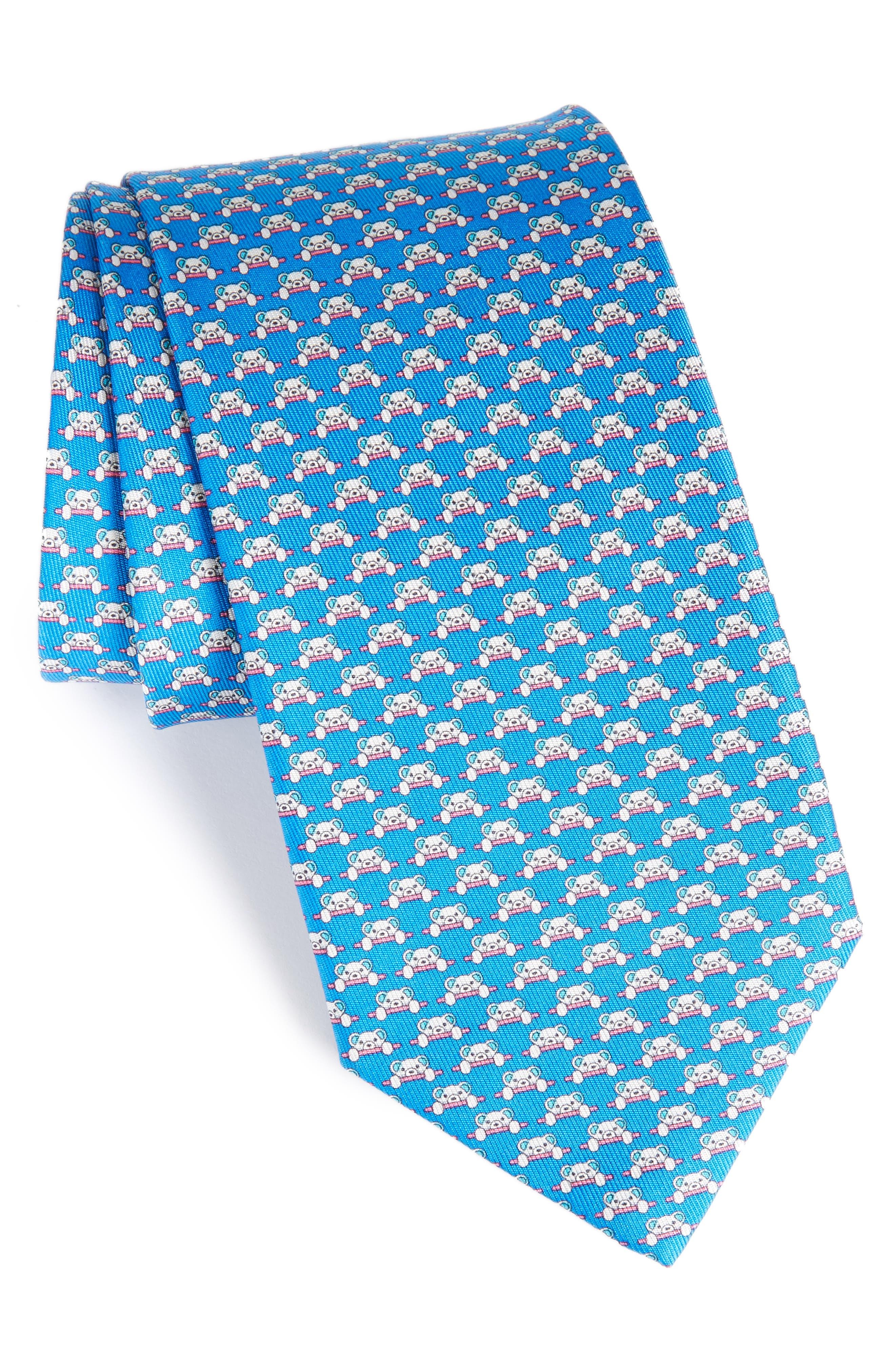 Salvatore Ferragamo Dino Bear Print Silk Tie