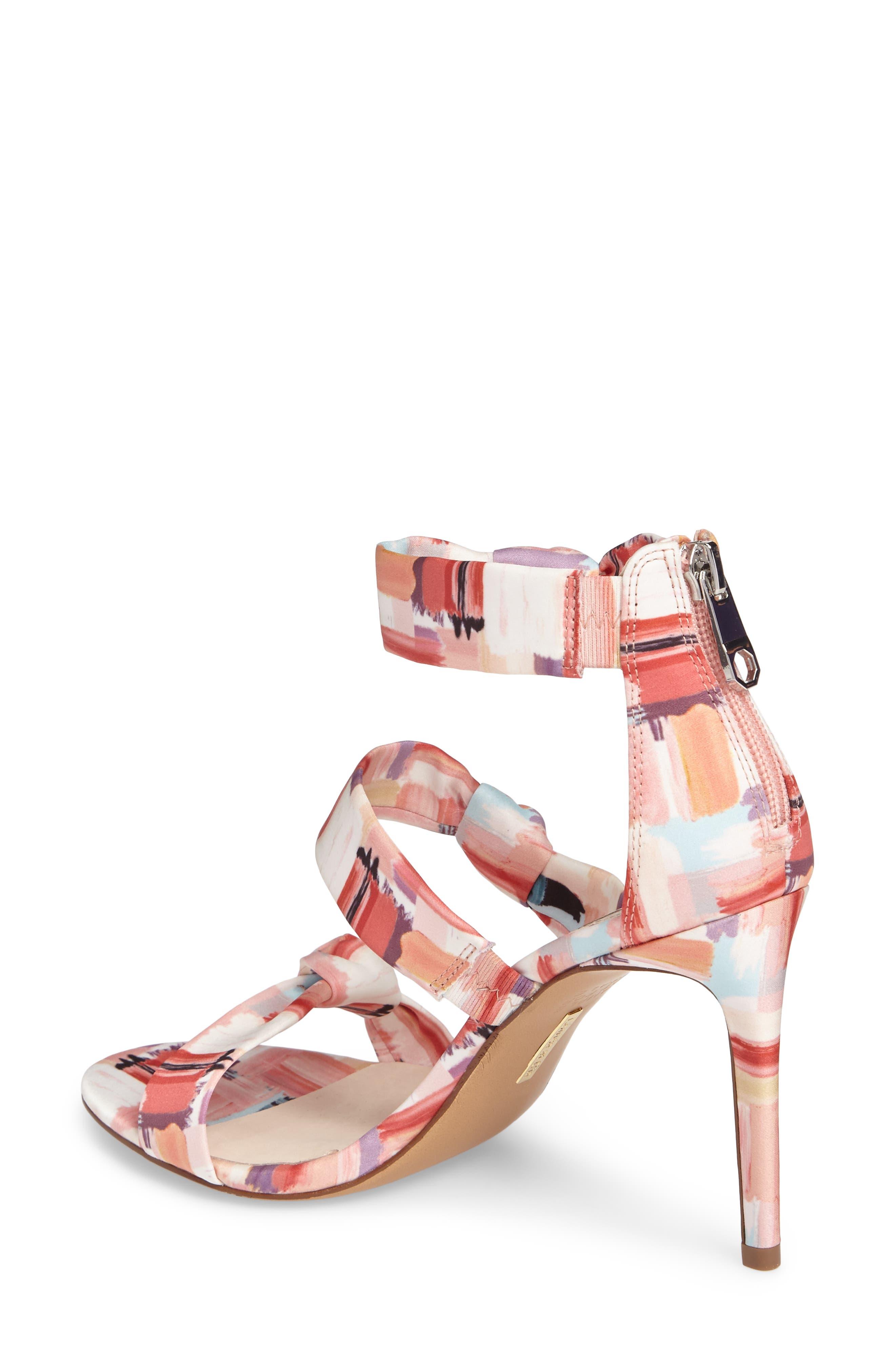 Klarissa Sandal,                             Alternate thumbnail 2, color,                             Coral Multi Satin