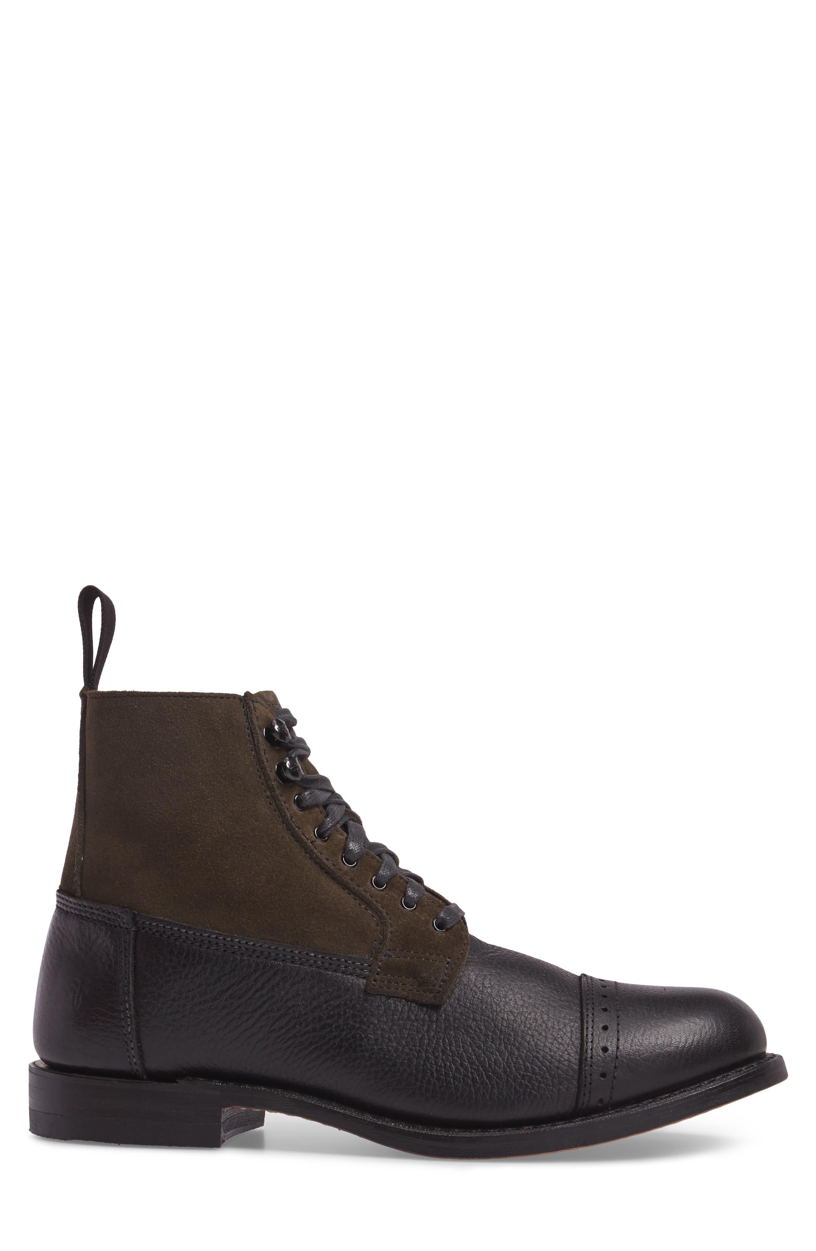 Frey Garrison Cap Toe Boot,                             Alternate thumbnail 3, color,                             Black Pebbled Leather