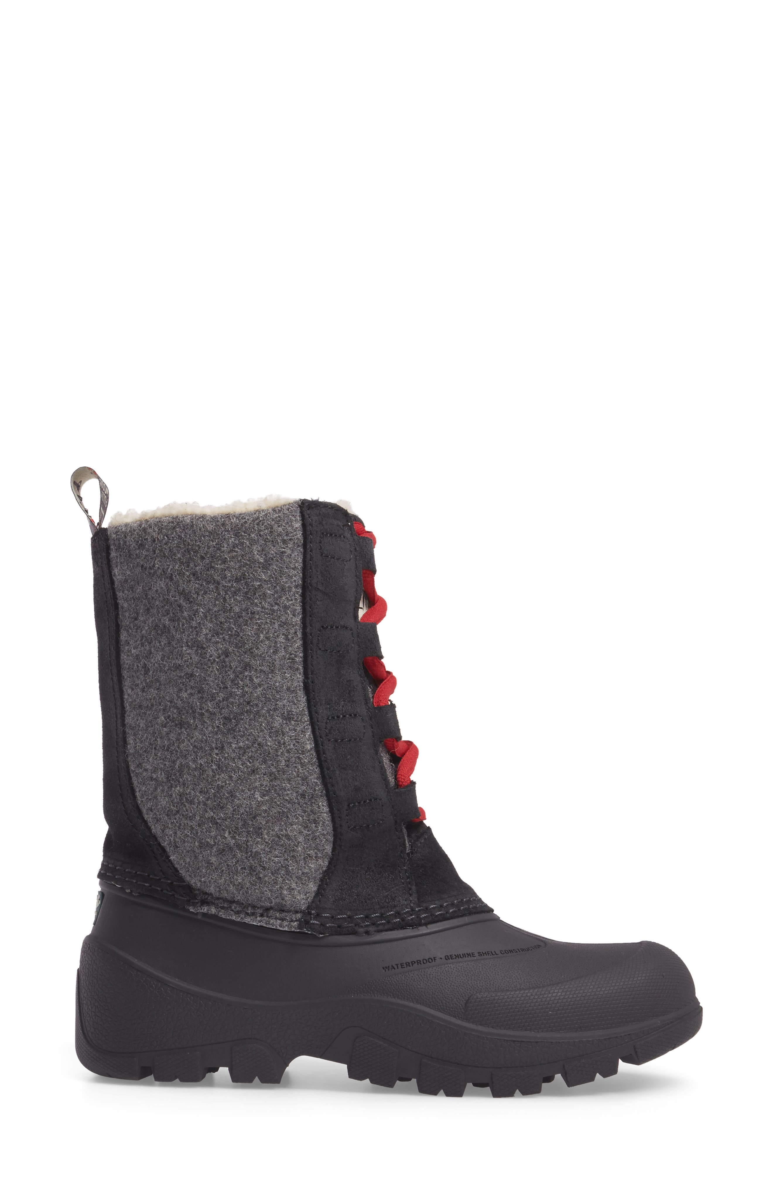 Fully Wooly Tundracat Waterproof Insulated Winter Boot,                             Alternate thumbnail 3, color,                             Black Leather