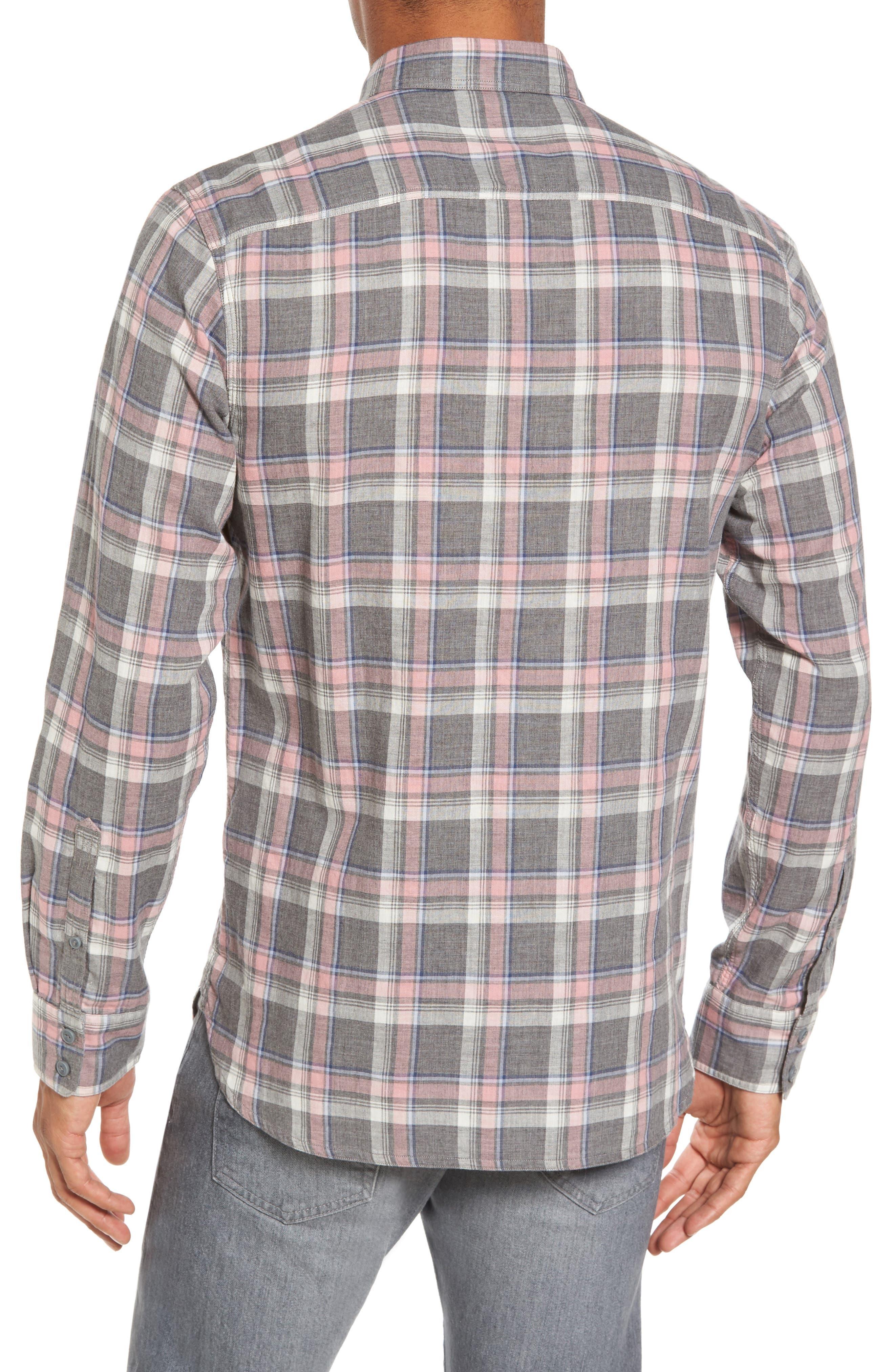 Trim Fit Utility Duofold Sport Shirt,                             Alternate thumbnail 2, color,                             Grey Paloma Pink Plaid Duofold