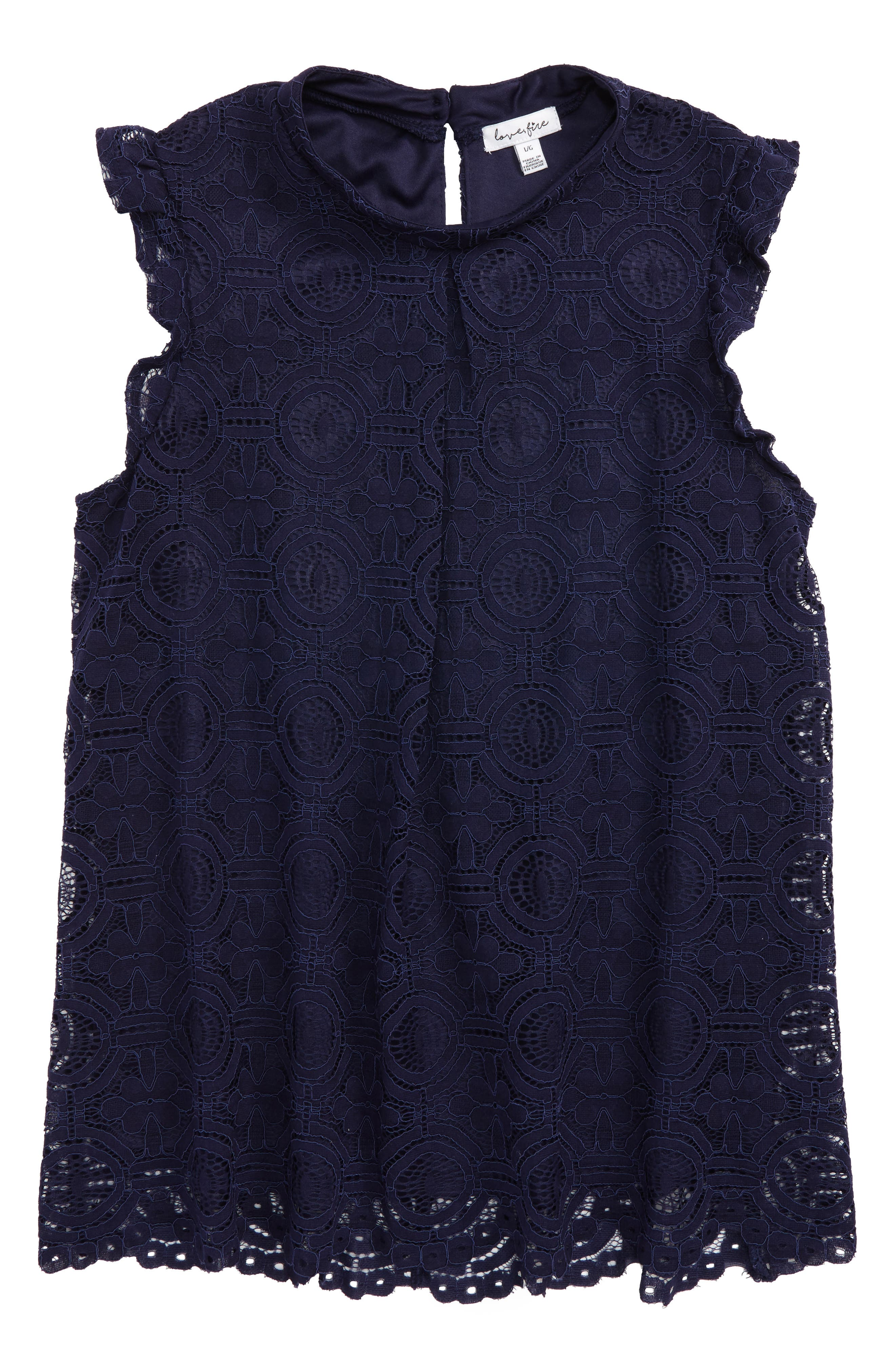 Sleeveless Lace Top,                         Main,                         color, Navy