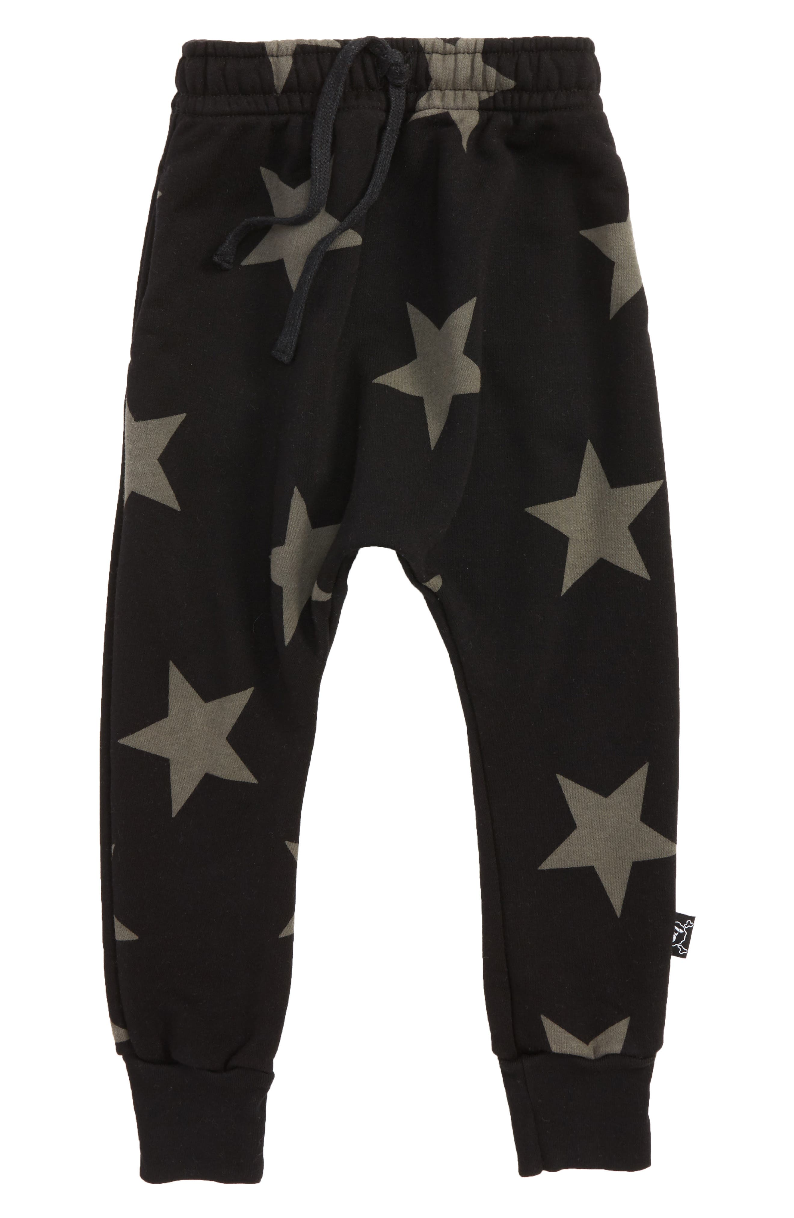 Star Print Jogger Pants,                             Main thumbnail 1, color,                             Black