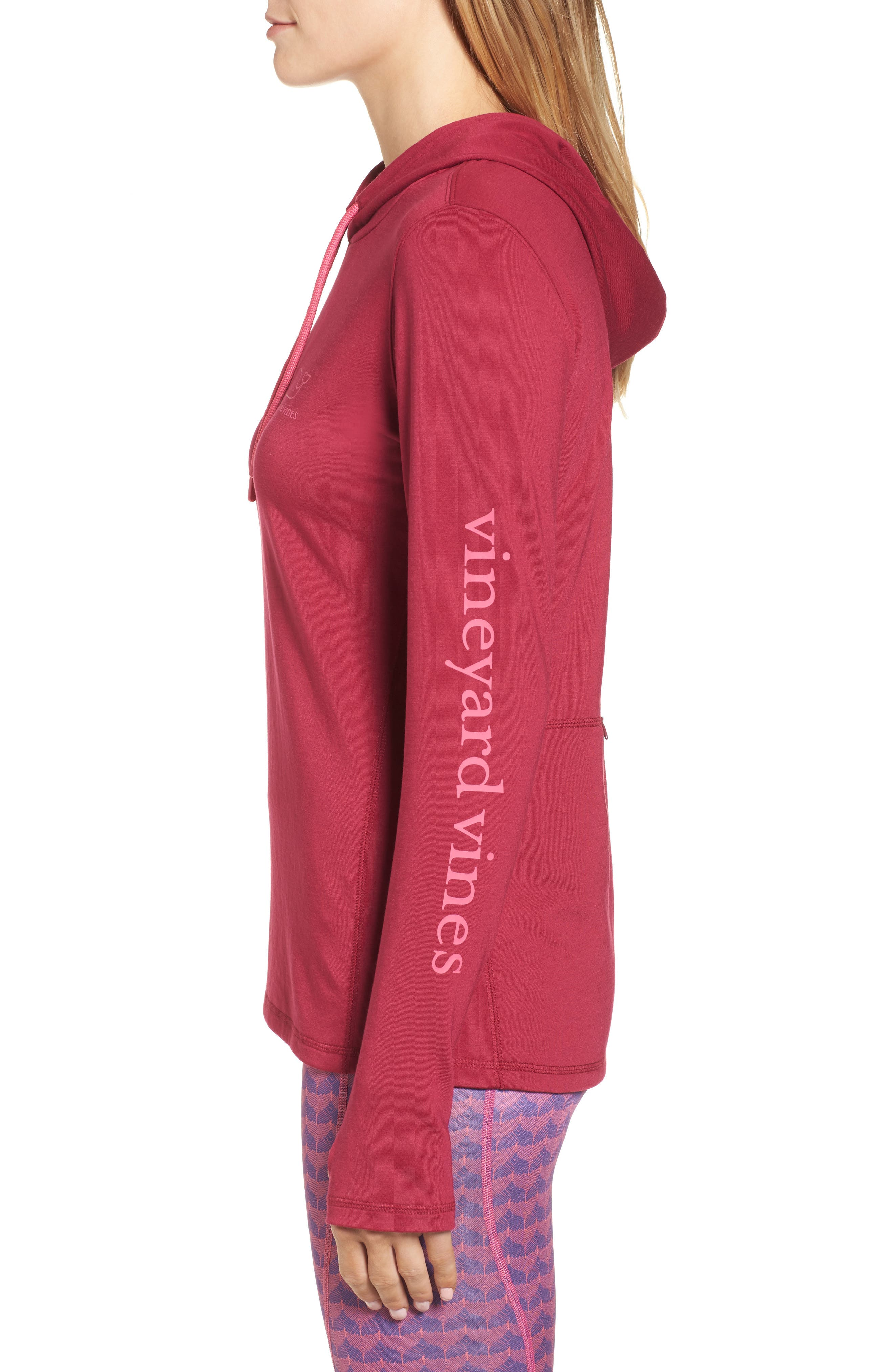 Whale Tail Hooded Tee,                             Alternate thumbnail 3, color,                             Beet Red