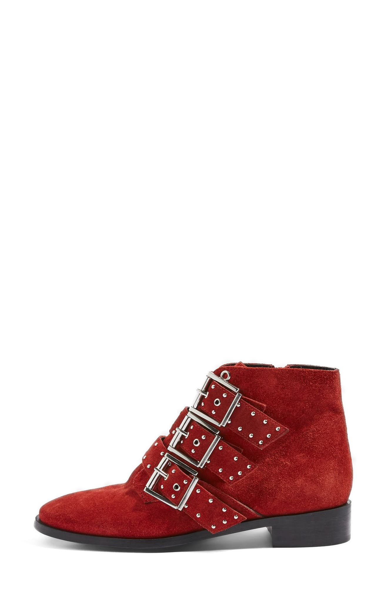 Krown Studded Bootie,                             Alternate thumbnail 7, color,                             Red