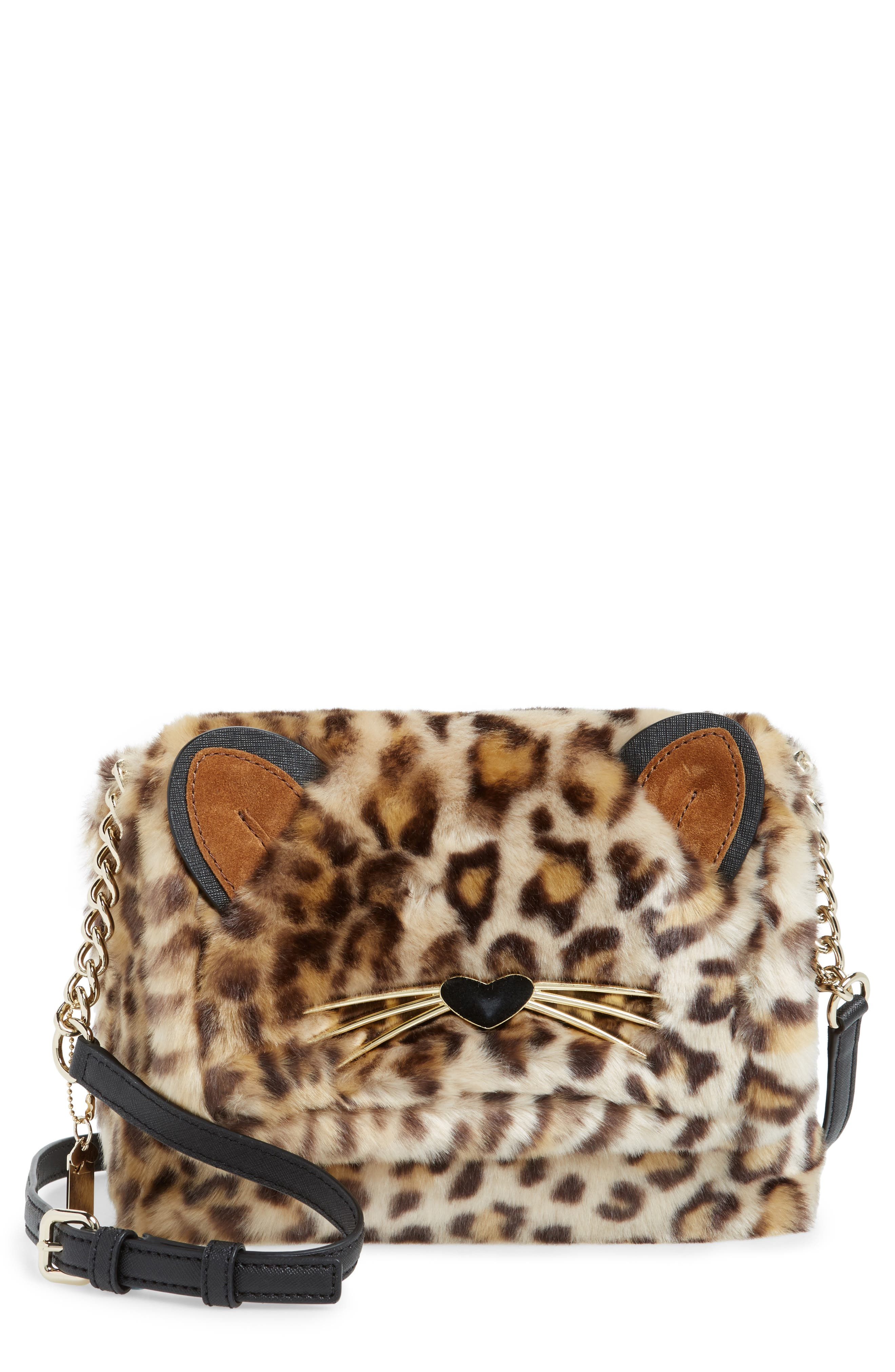 Main Image - kate spade new york run wild faux fur shoulder bag/muff