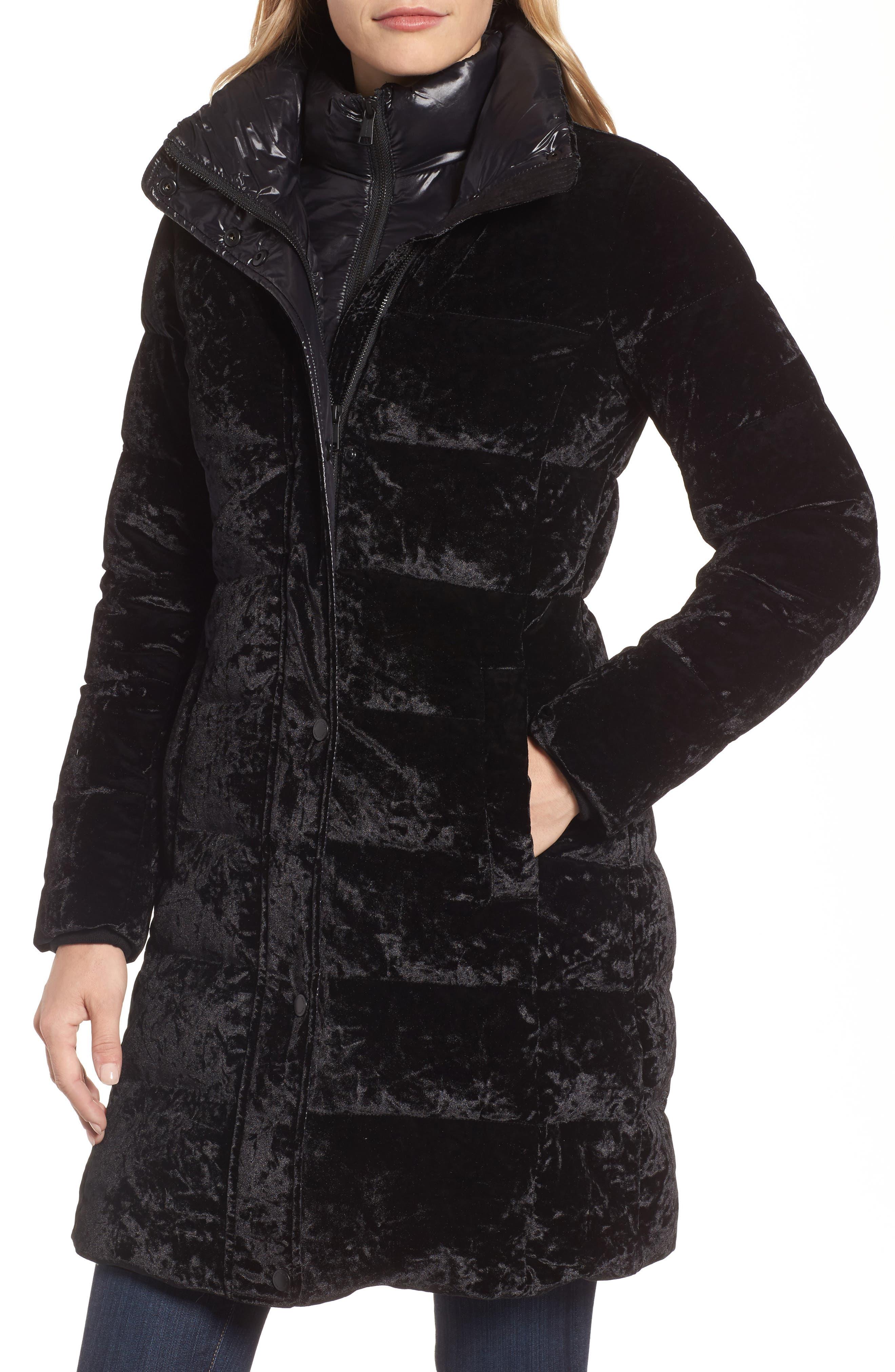 Velvet Down Jacket with Genuine Fox Fur,                             Alternate thumbnail 4, color,                             Black