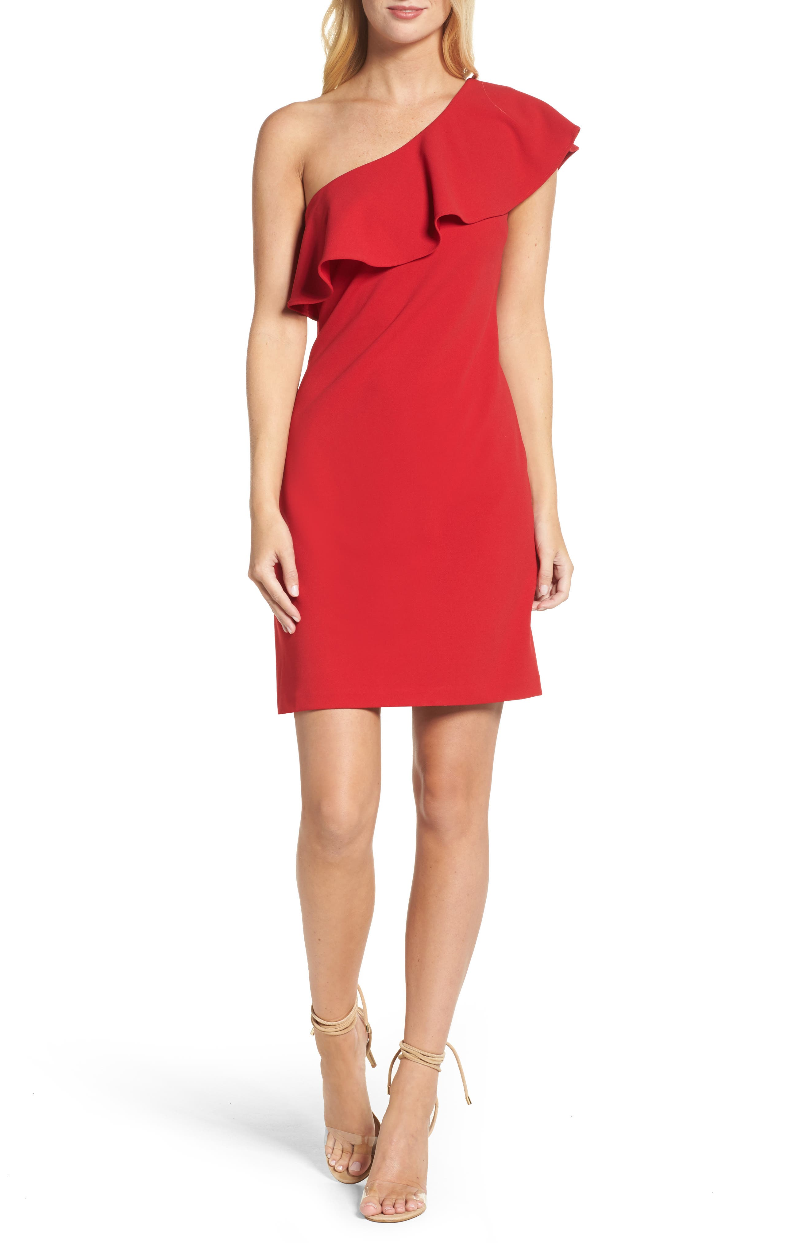 Ruffle One-Shoulder Shift Dress,                         Main,                         color, Red