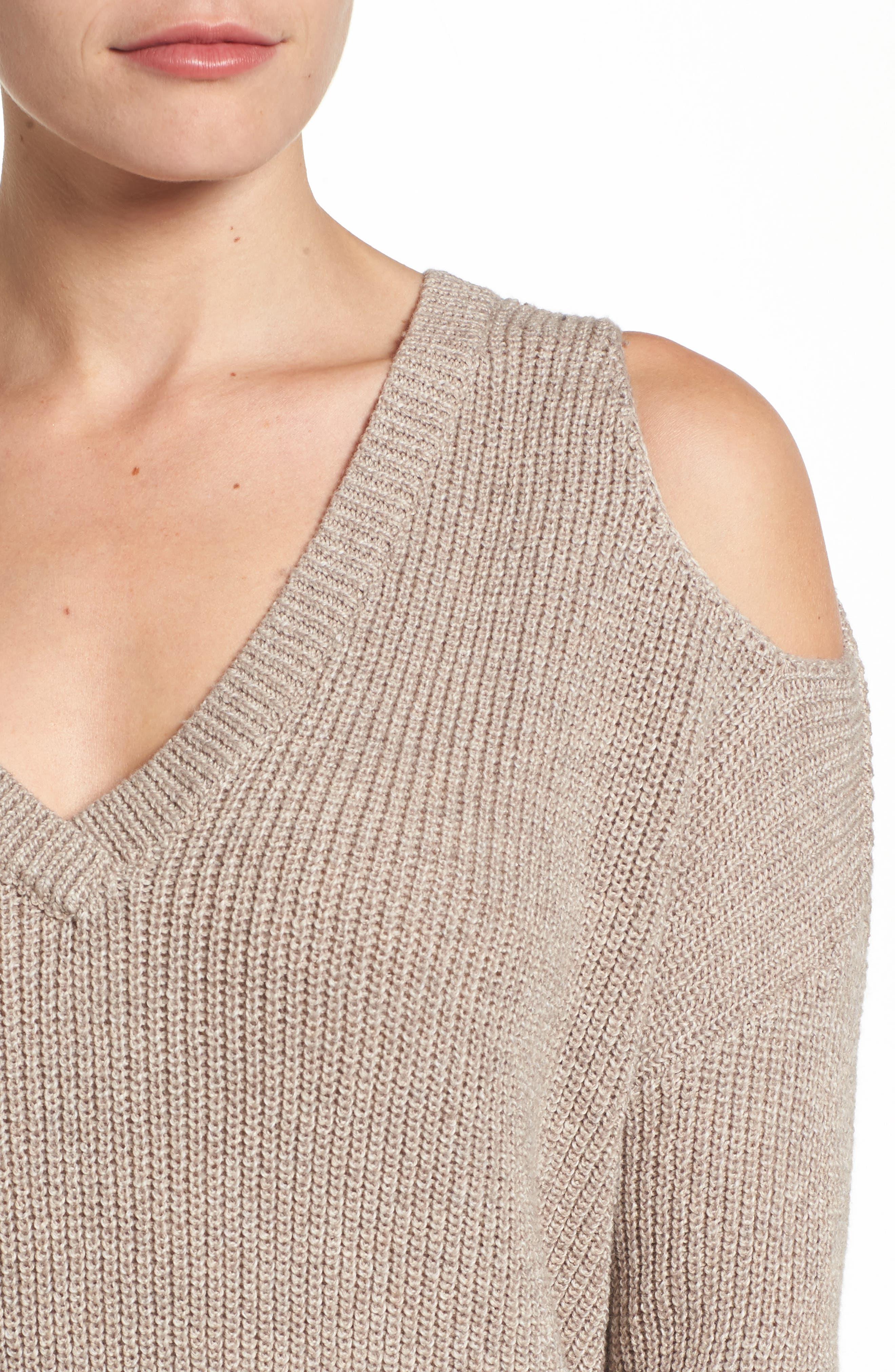 Alternate Image 4  - Caslon® Cold Shoulder Tunic Sweater