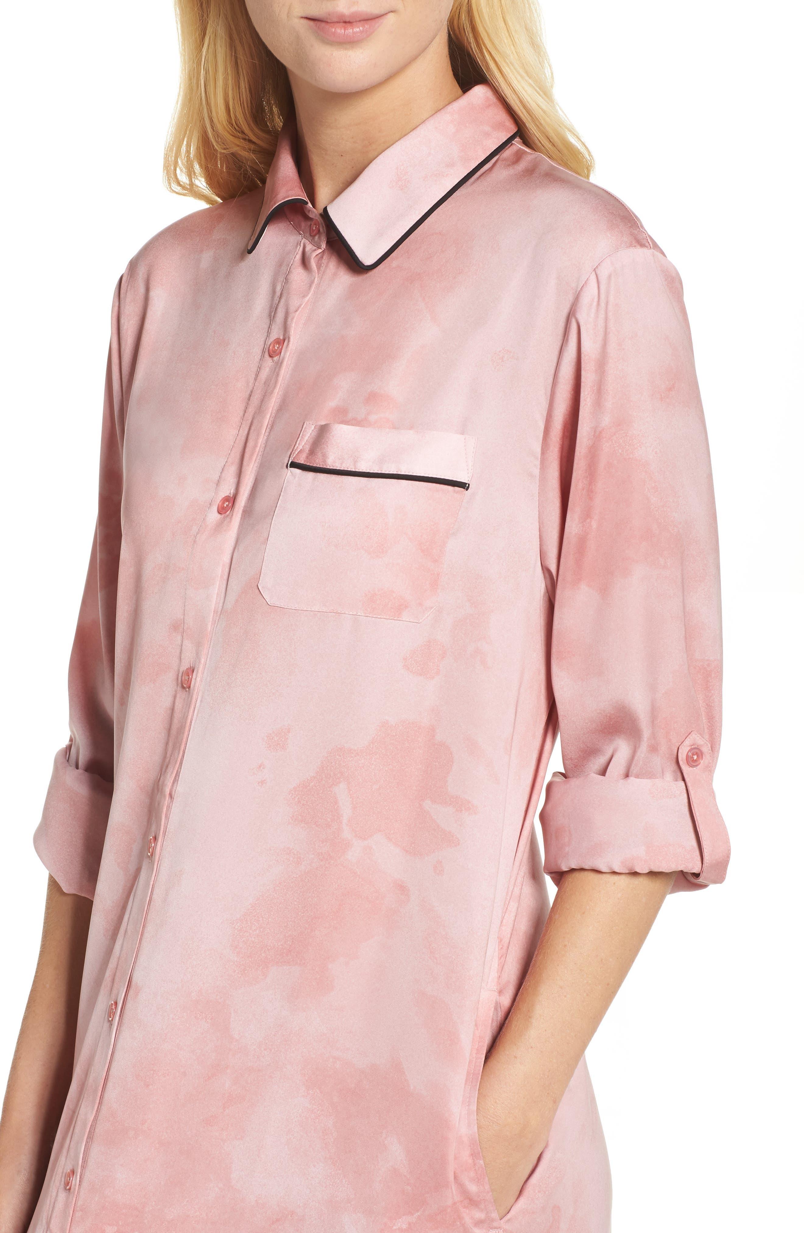 Washed Satin Maxi Sleep Shirt,                             Alternate thumbnail 4, color,                             Pink Floral