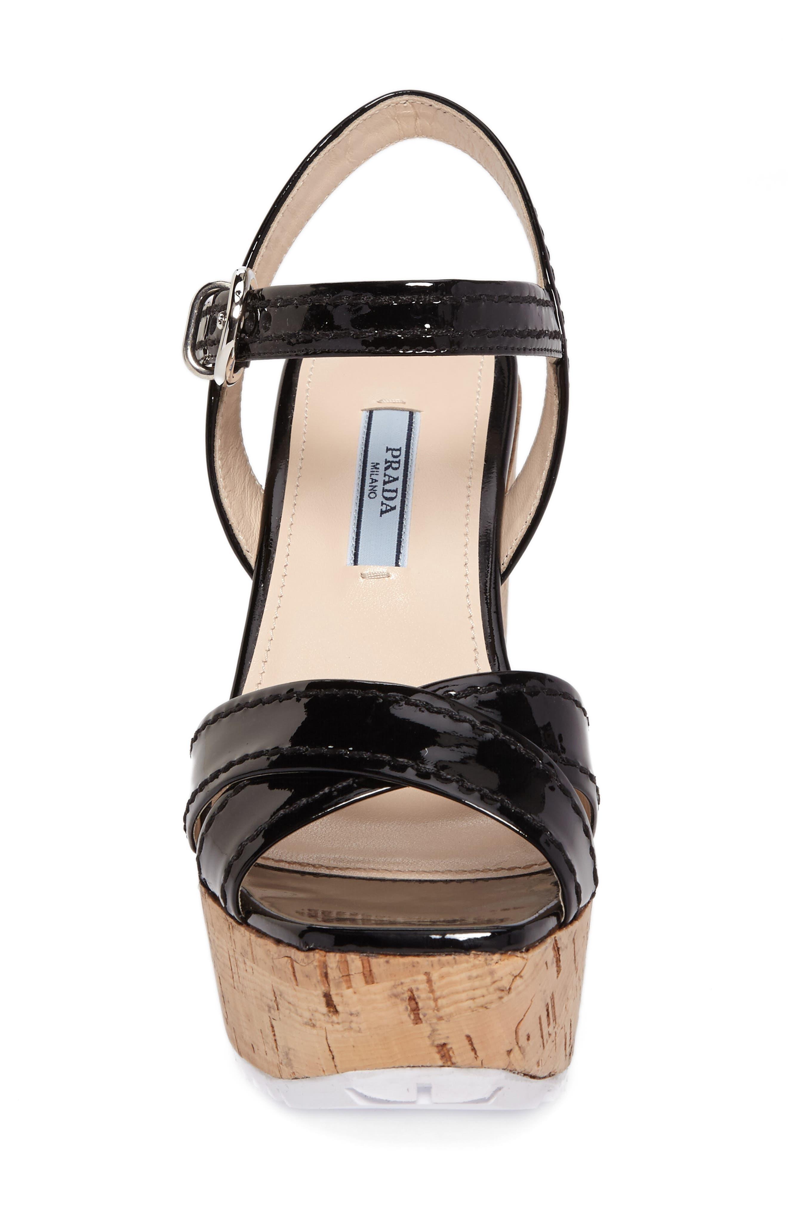 Cork Wedge Sandal,                             Alternate thumbnail 4, color,                             Black