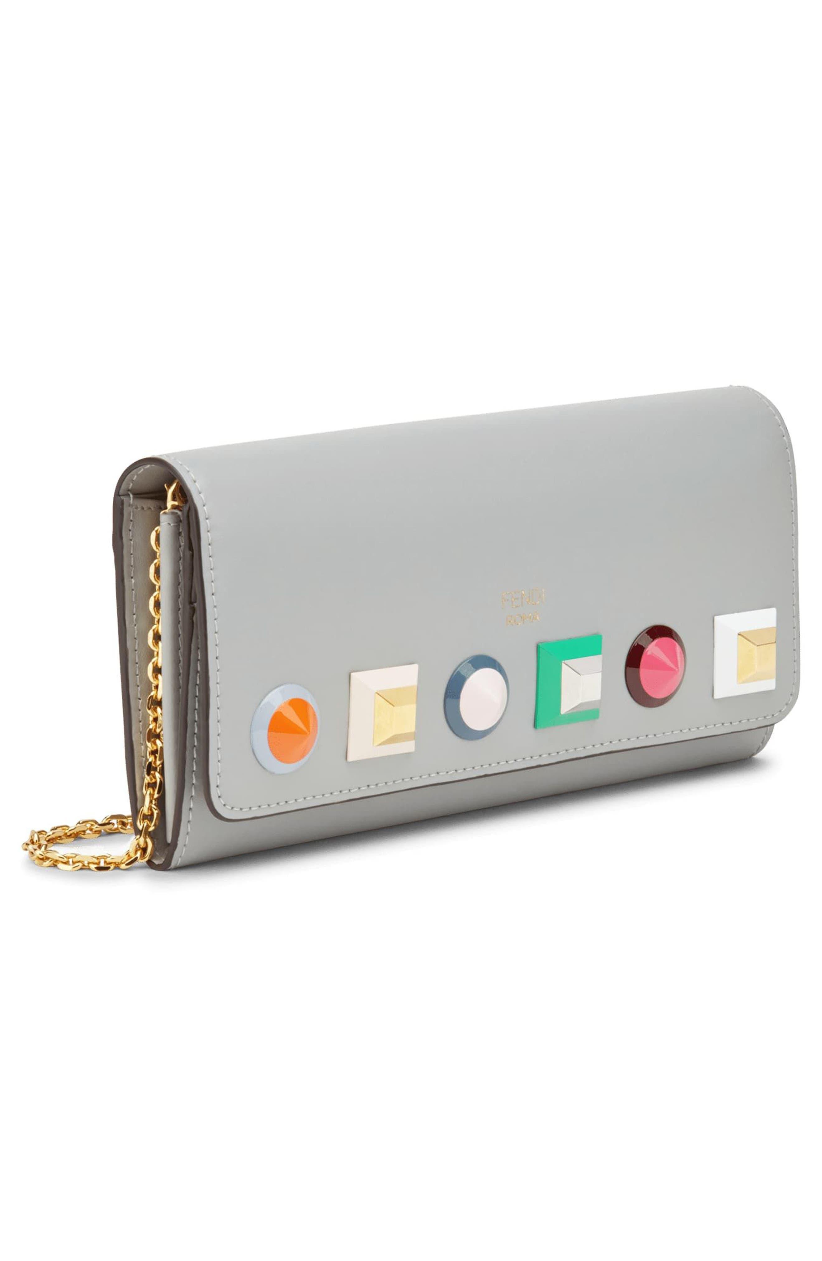 Alternate Image 5  - Fendi Rainbow Stud Calfskin Leather Wallet on a Chain
