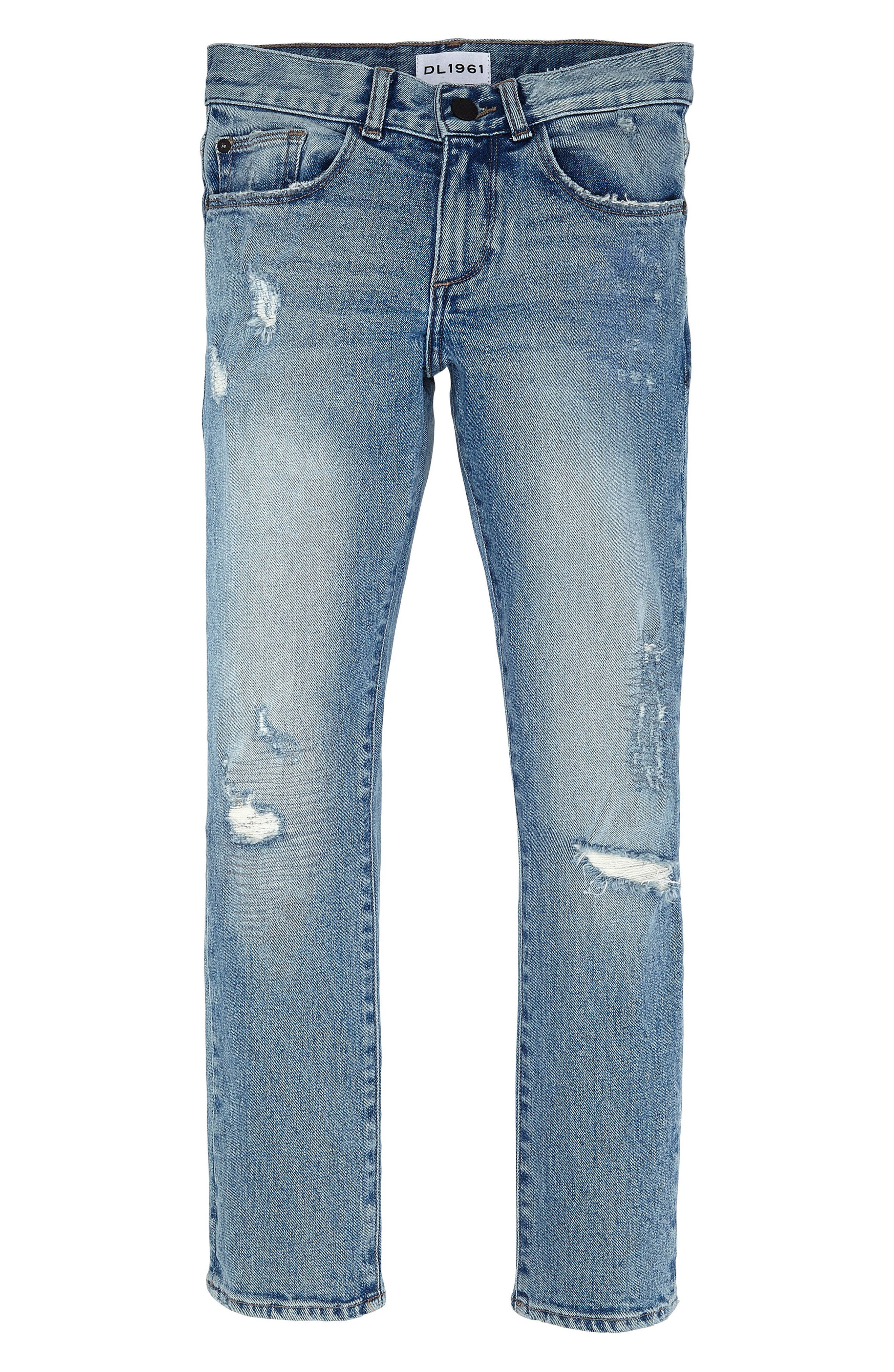 Alternate Image 1 Selected - DL1961 Hawke Skinny Fit Rip and Repair Jeans (Toddler Boys & Little Boys)