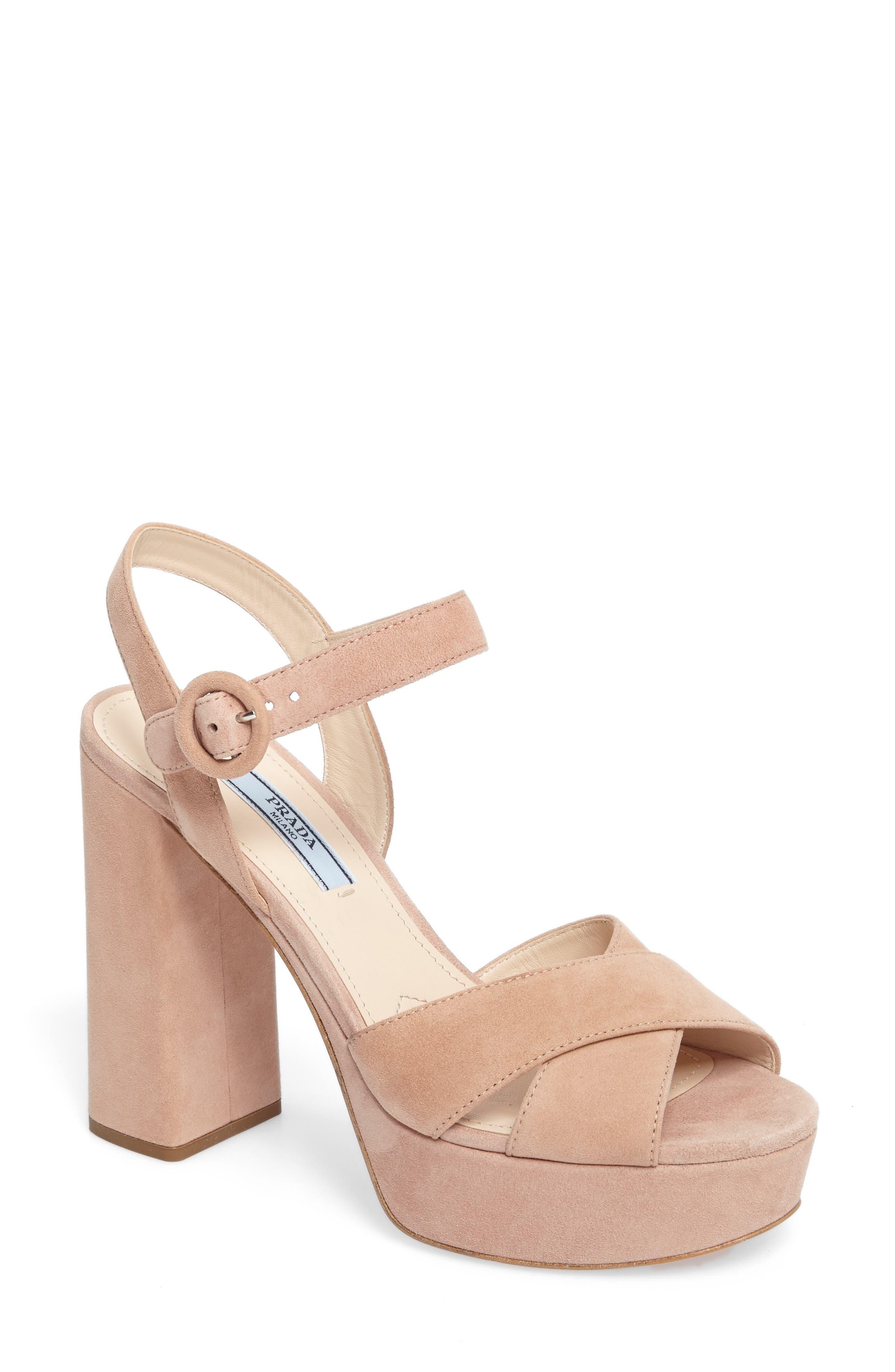 Alternate Image 1 Selected - Prada Block Heel Platform Sandal (Women)