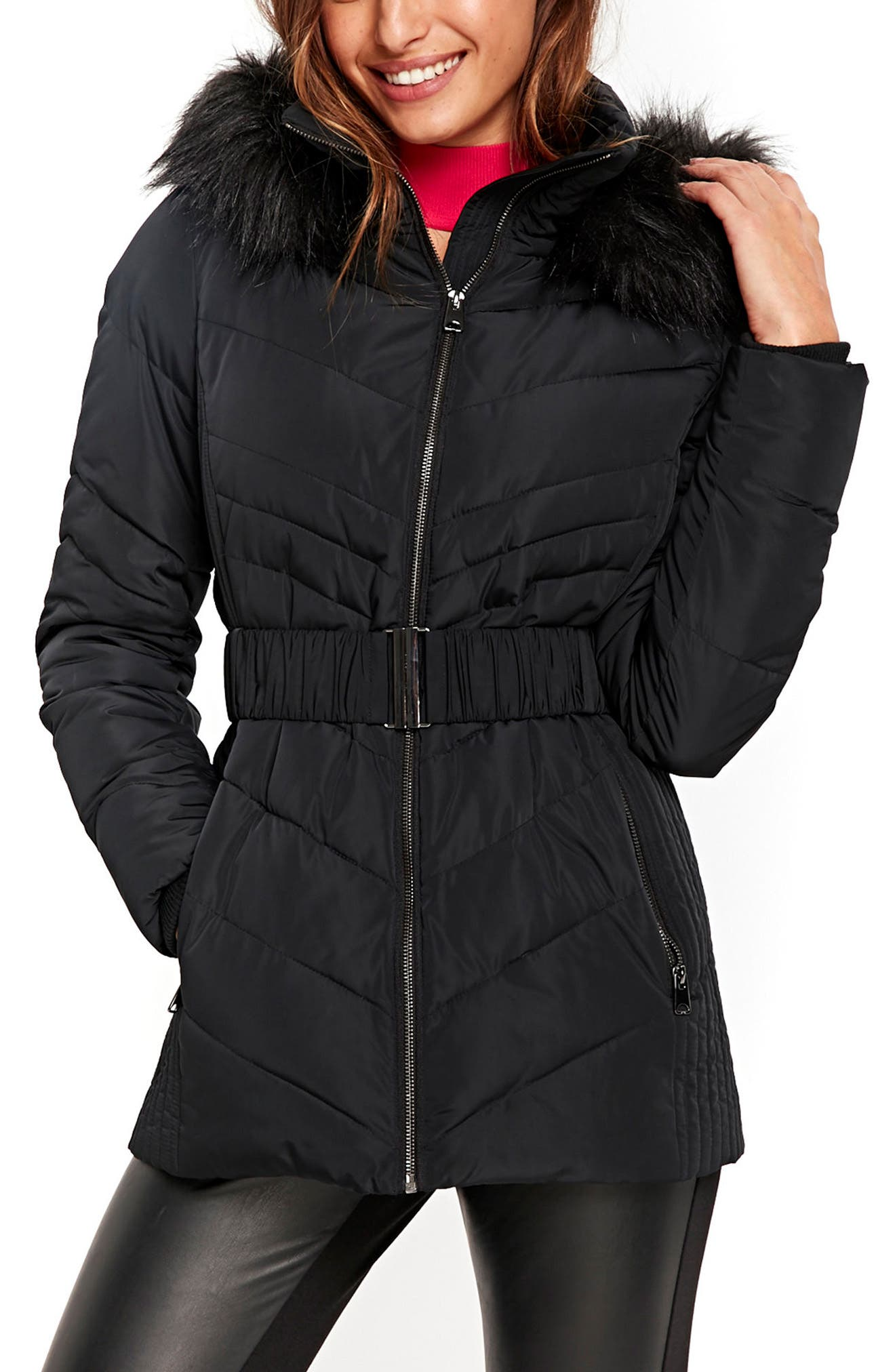 Water Repellent Quilted Puffer Coat with Faux Fur Trim,                         Main,                         color, Black