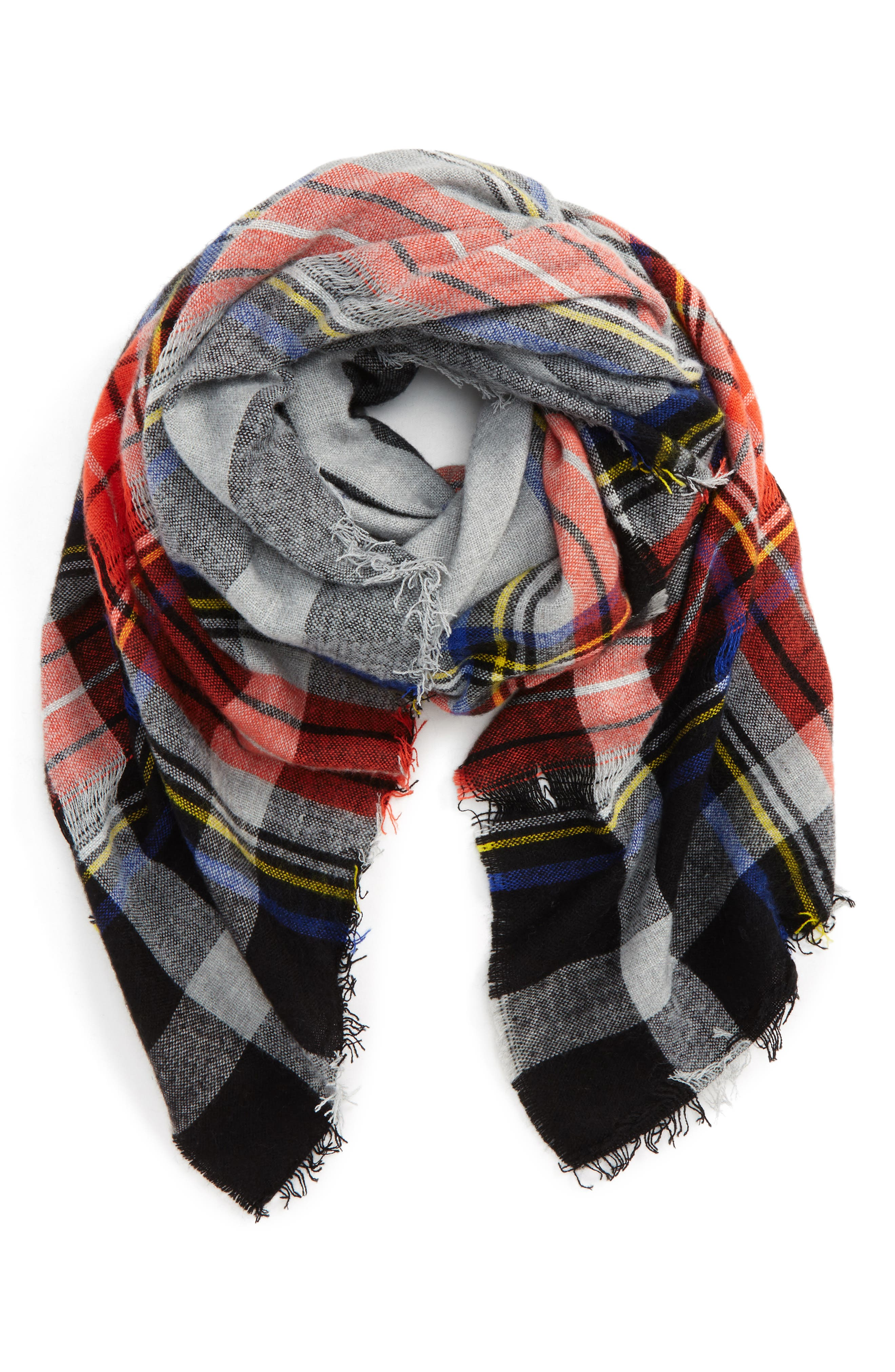 David & Young Contrast Plaid Square Scarf