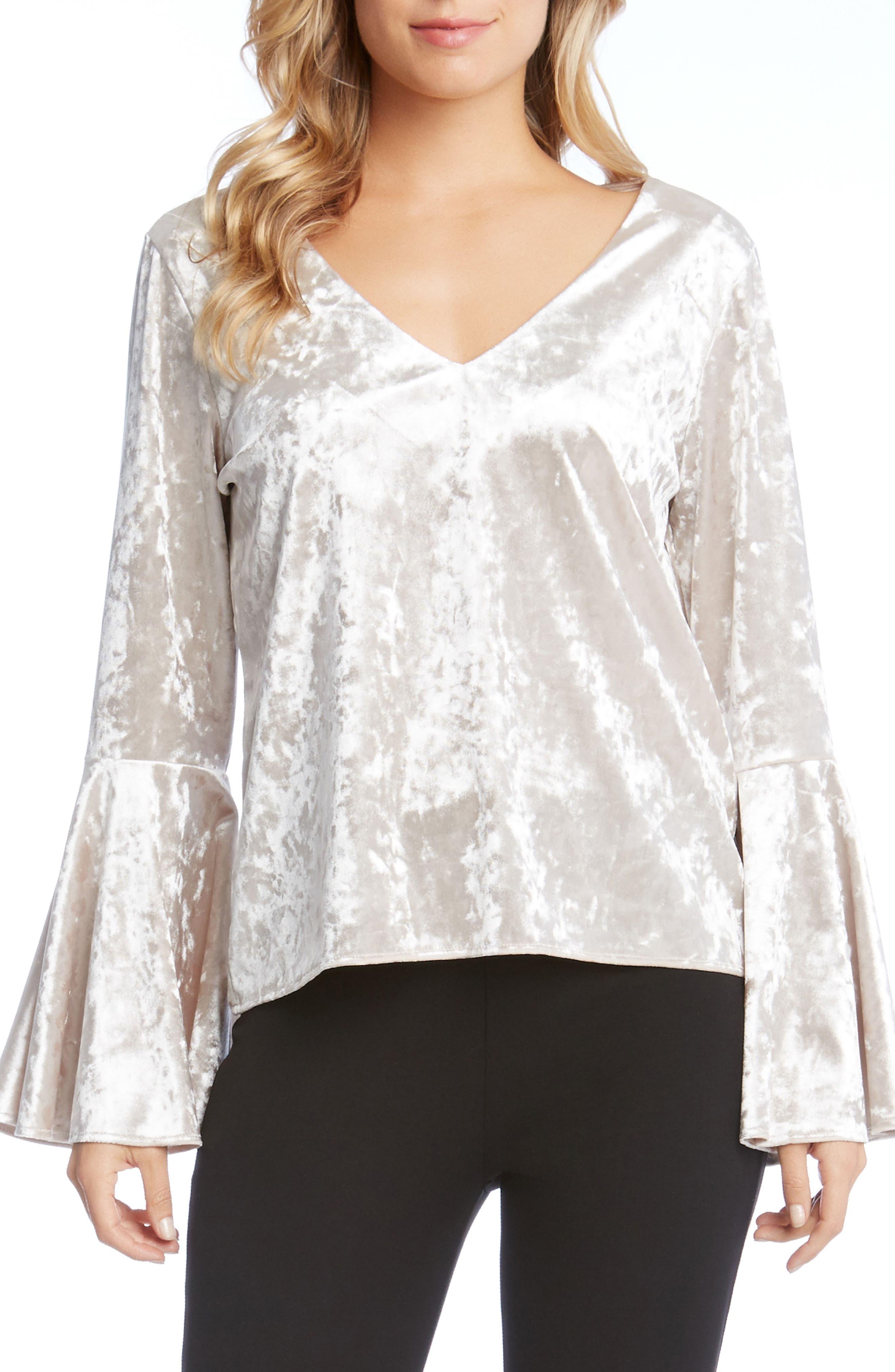 Crystal Velvet Bell Sleeve Top,                         Main,                         color, Champagne