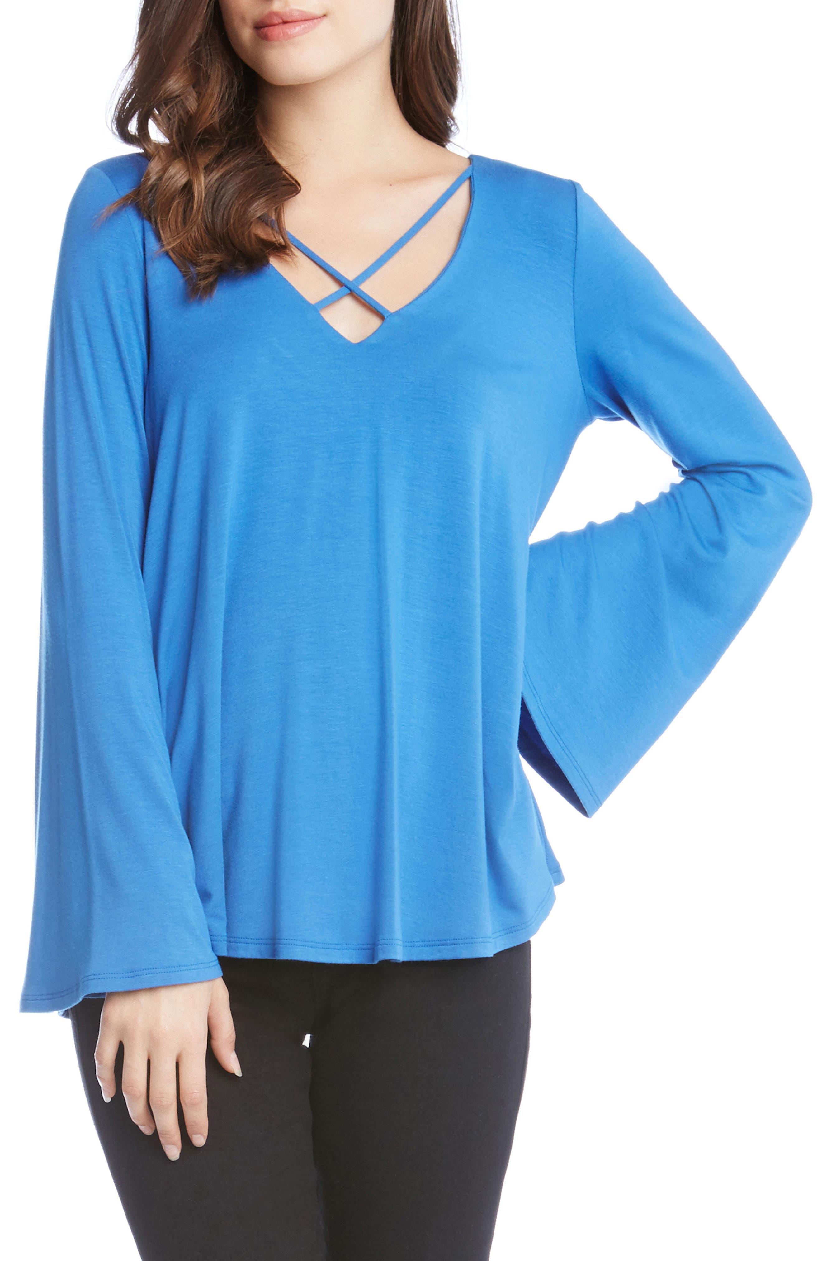 Crisscross Bell Sleeve Top,                         Main,                         color, Blue