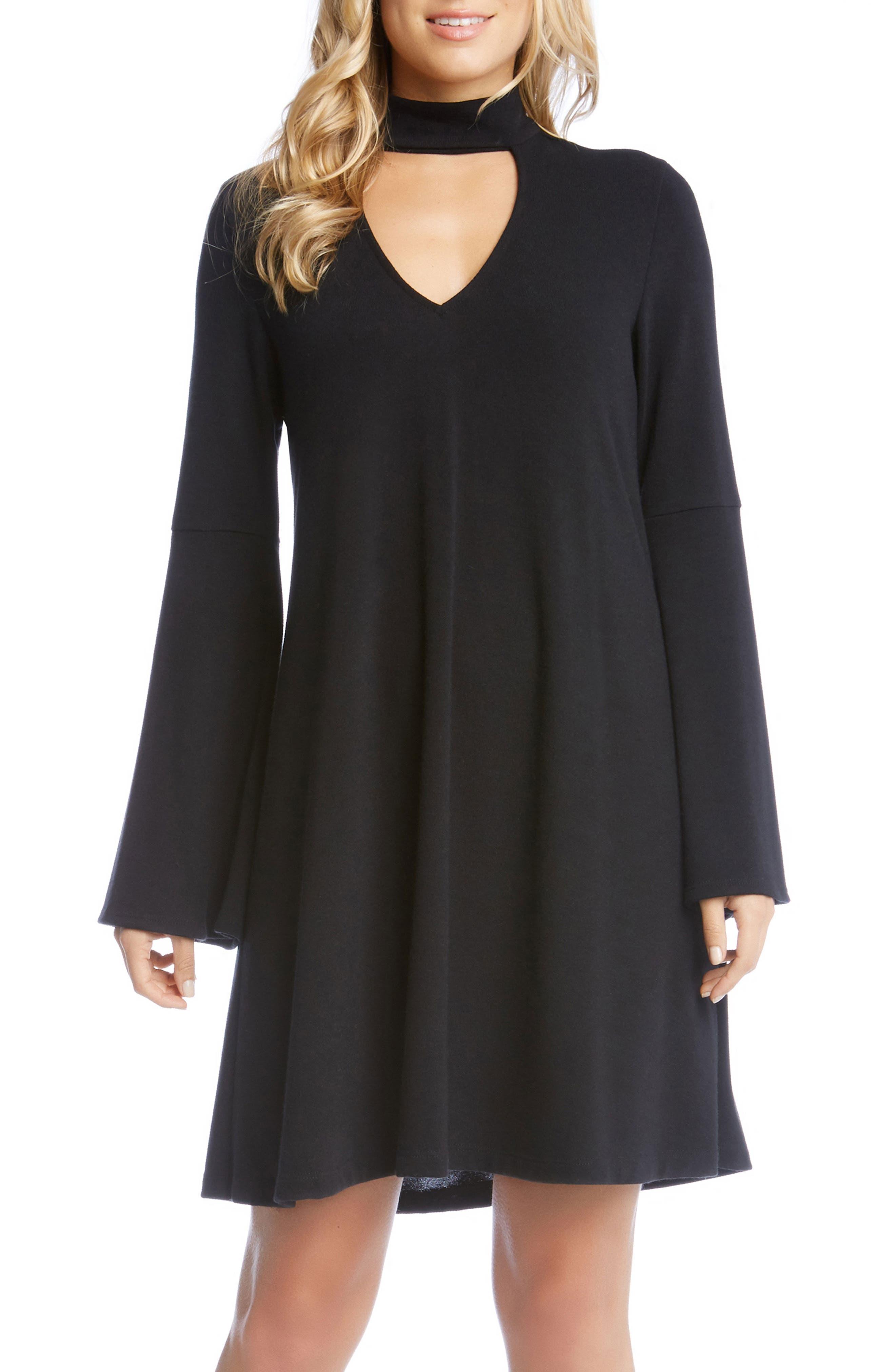 Taylor Choker Neck Dress,                         Main,                         color, Black