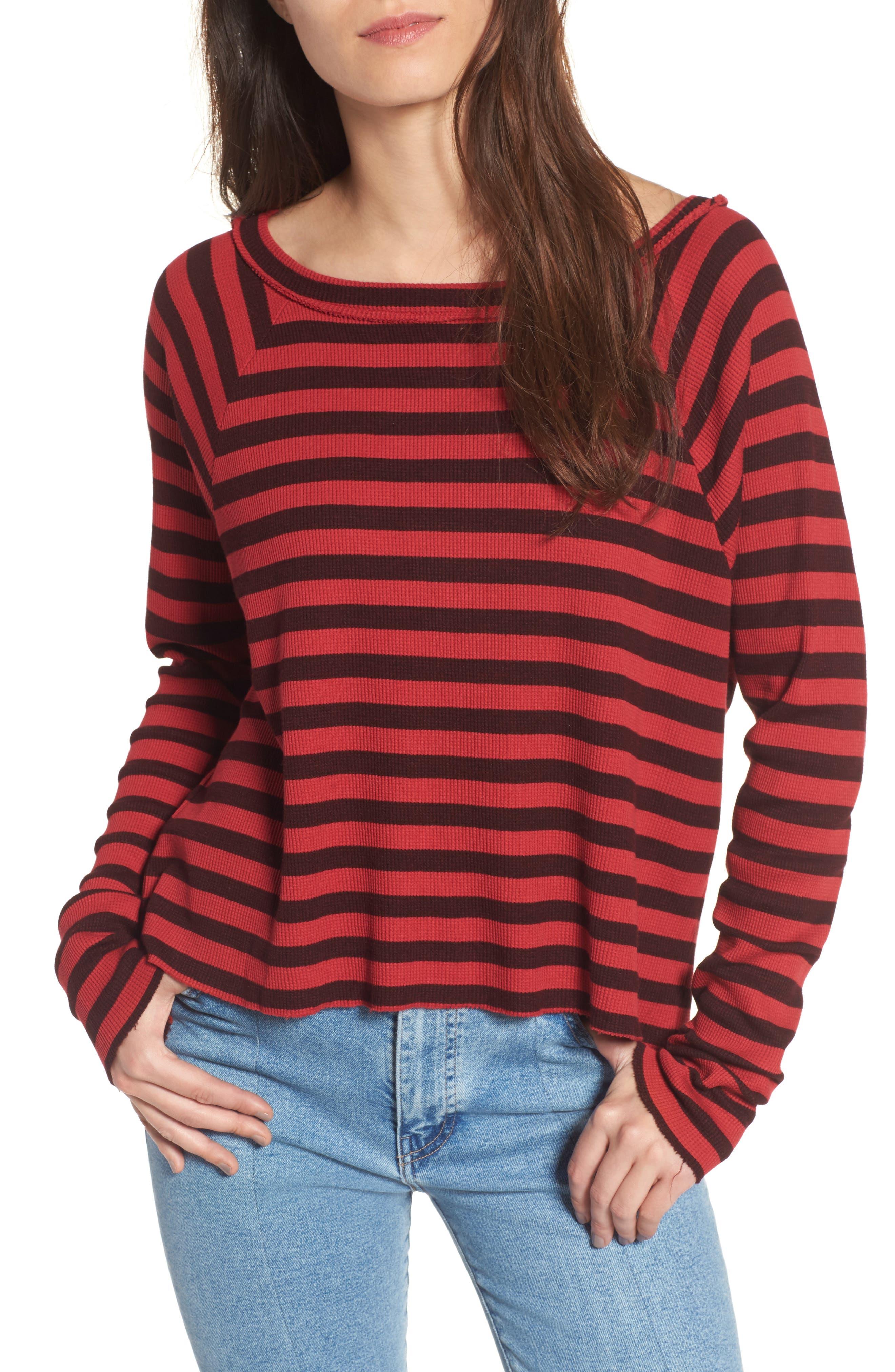 Stripe Thermal Top,                         Main,                         color, Scarlet