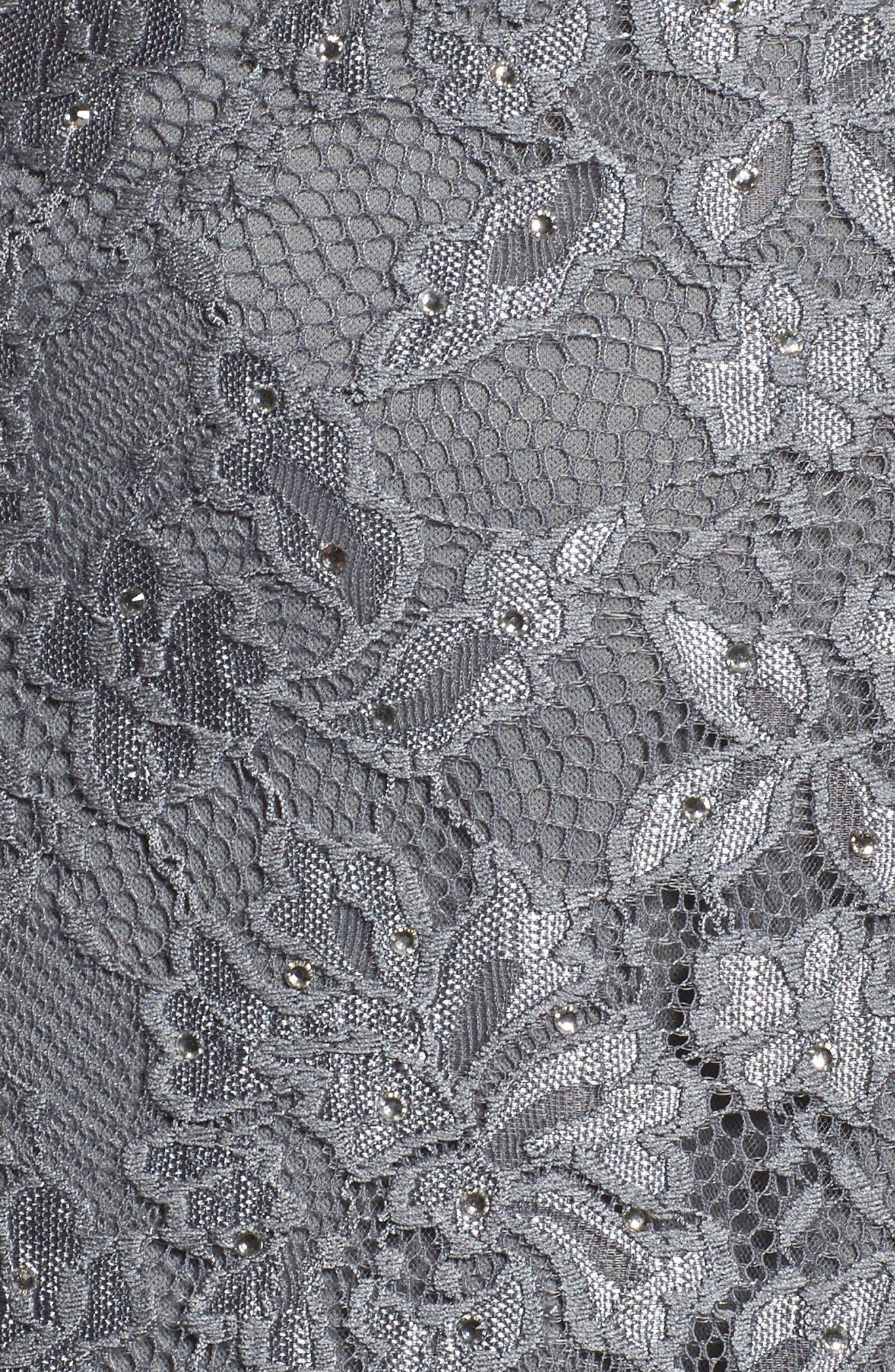 Alternate Image 5  - La Femme Flutter Sleeve Lace Gown