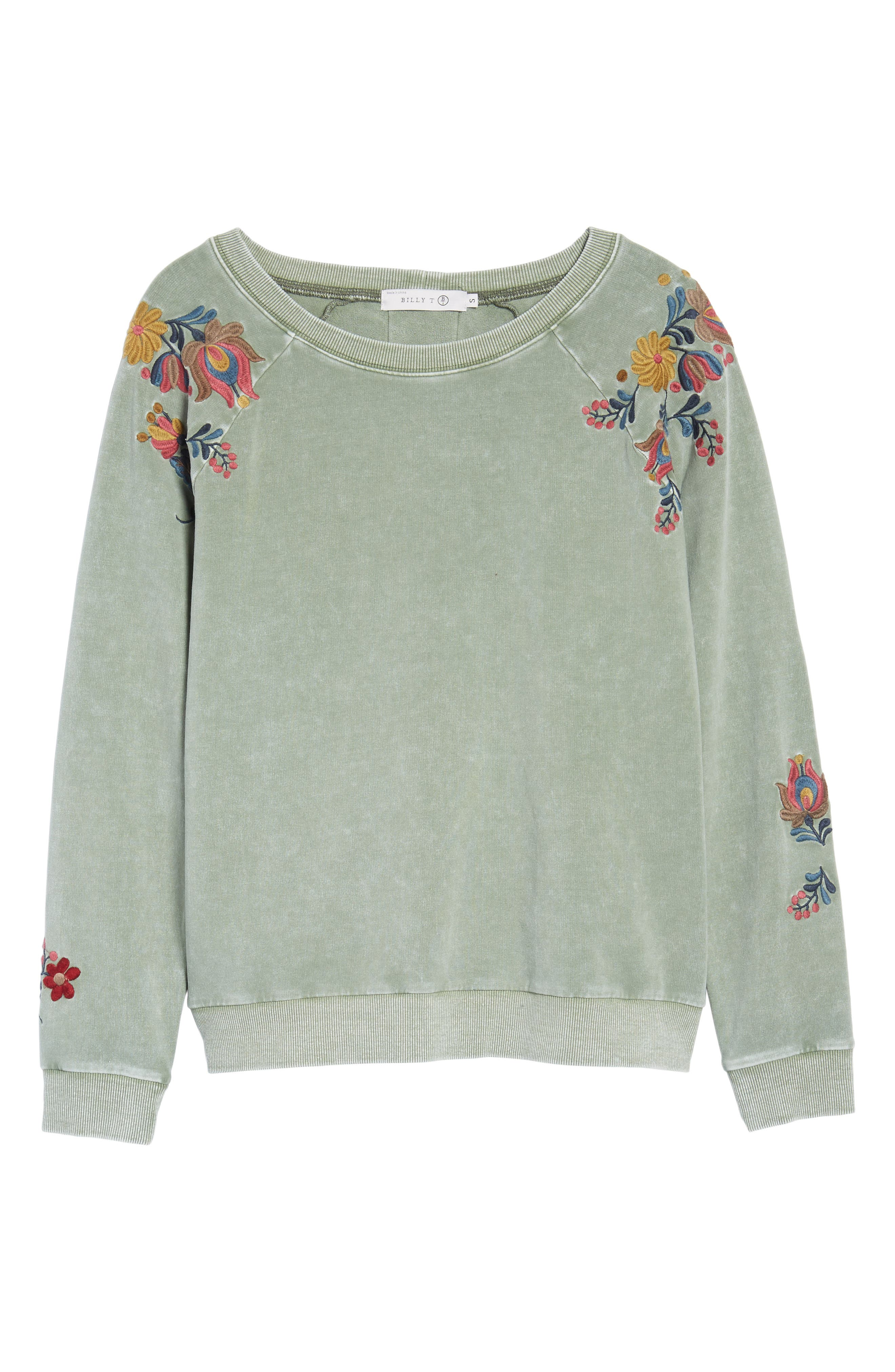 Embroidered Lace-Up Back Sweatshirt,                             Alternate thumbnail 6, color,                             Army