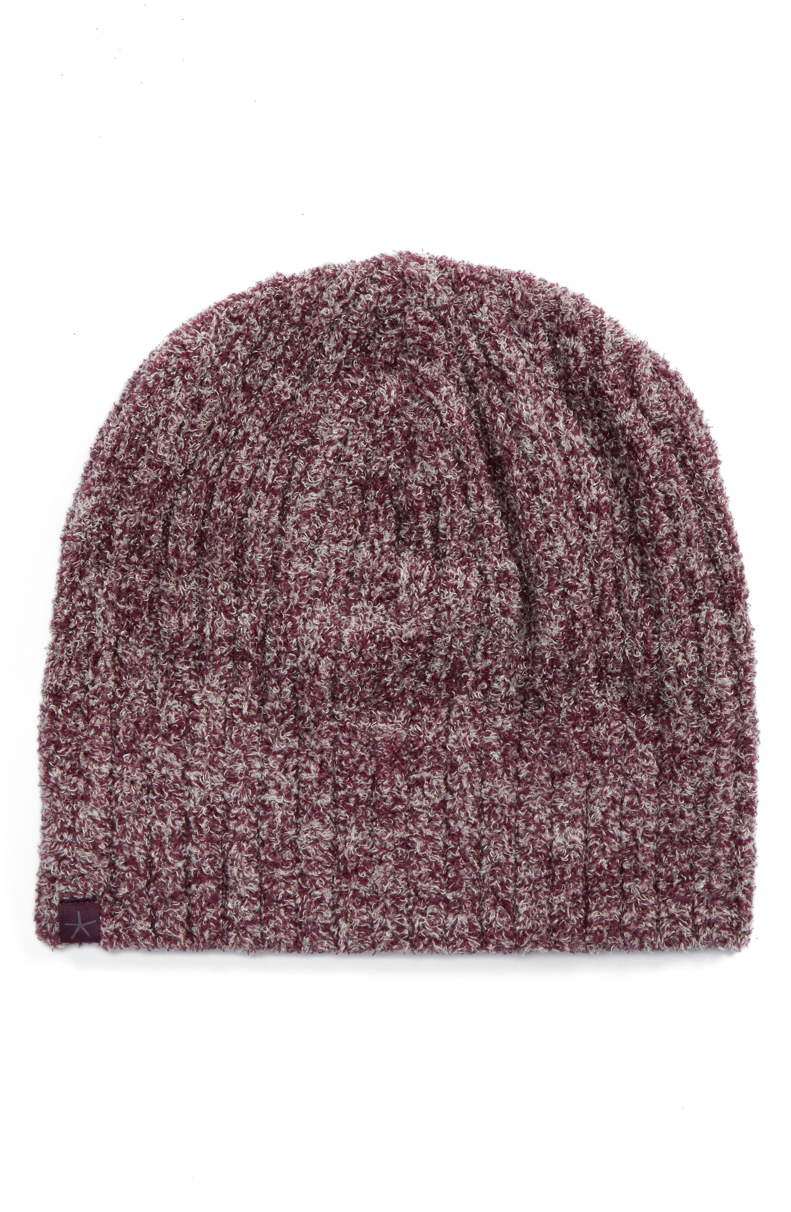 Circle Ribbed Beanie,                             Main thumbnail 1, color,                             Burgundy/ Stone Heather