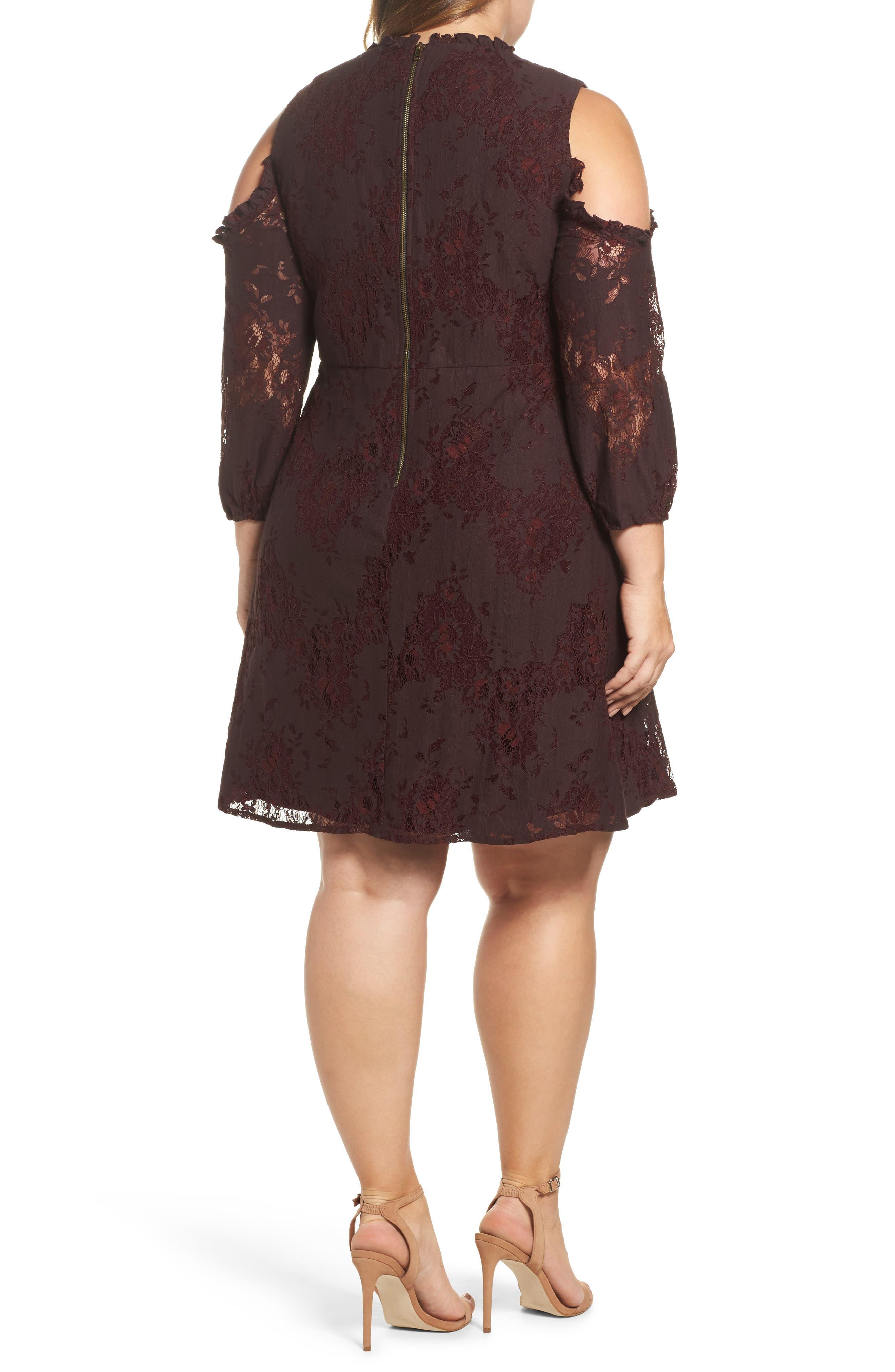 Cold Shoulder Lace A-Line Dress,                             Alternate thumbnail 2, color,                             Burgundy