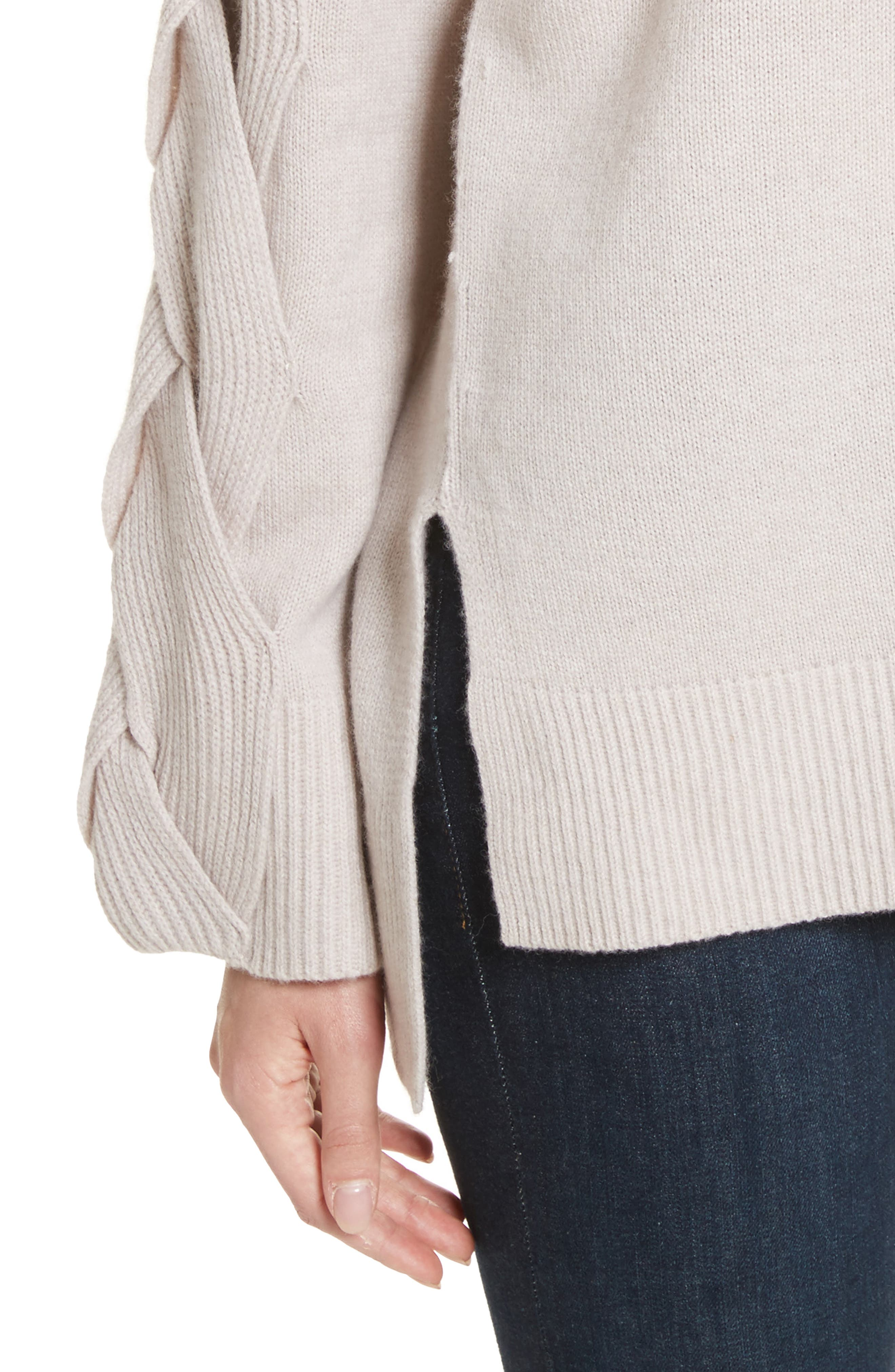 Fisherman Cable Knit Sweater,                             Alternate thumbnail 4, color,                             Oatmeal