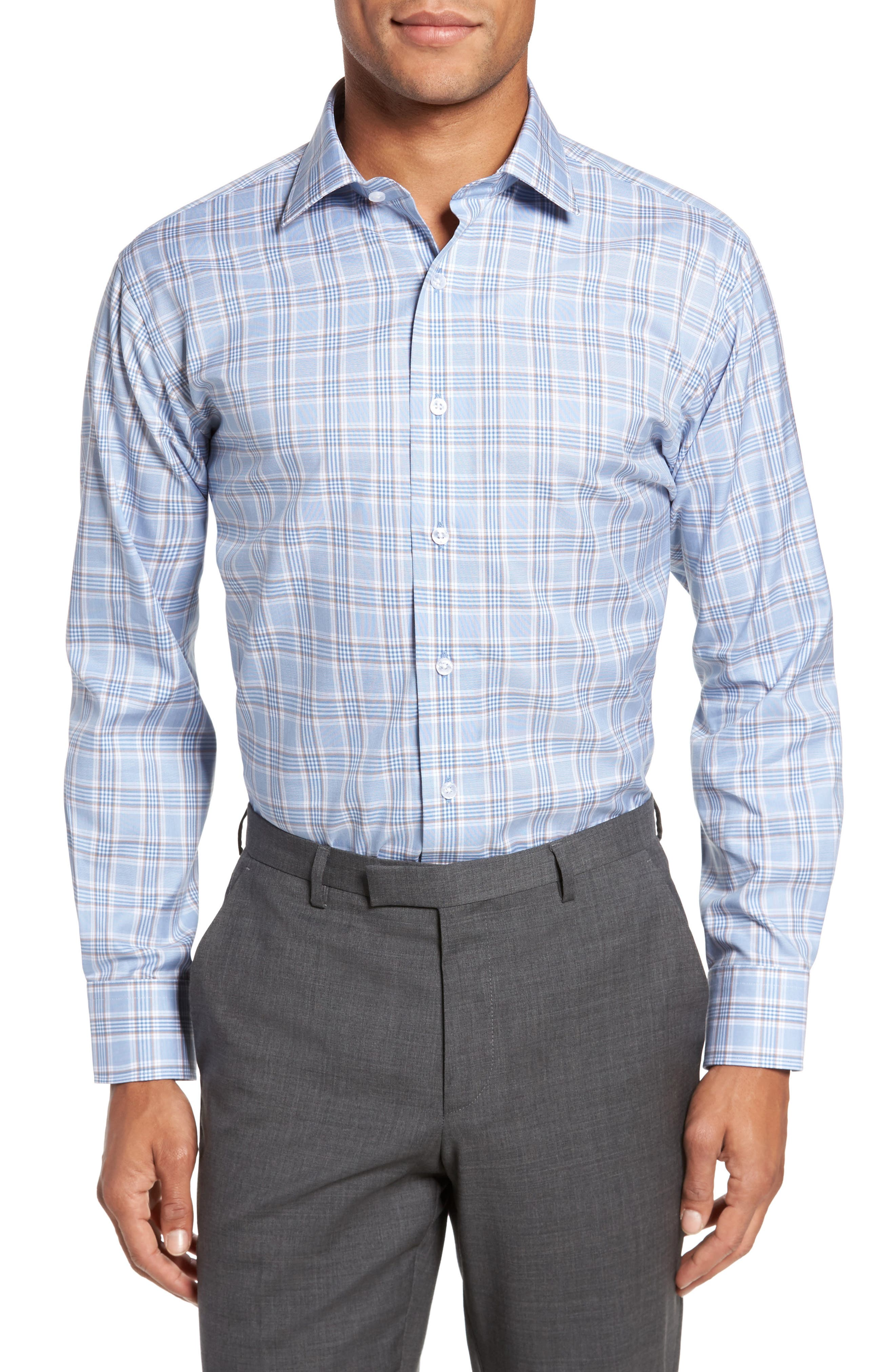 Trim Fit Plaid Dress Shirt,                         Main,                         color, Light Blue