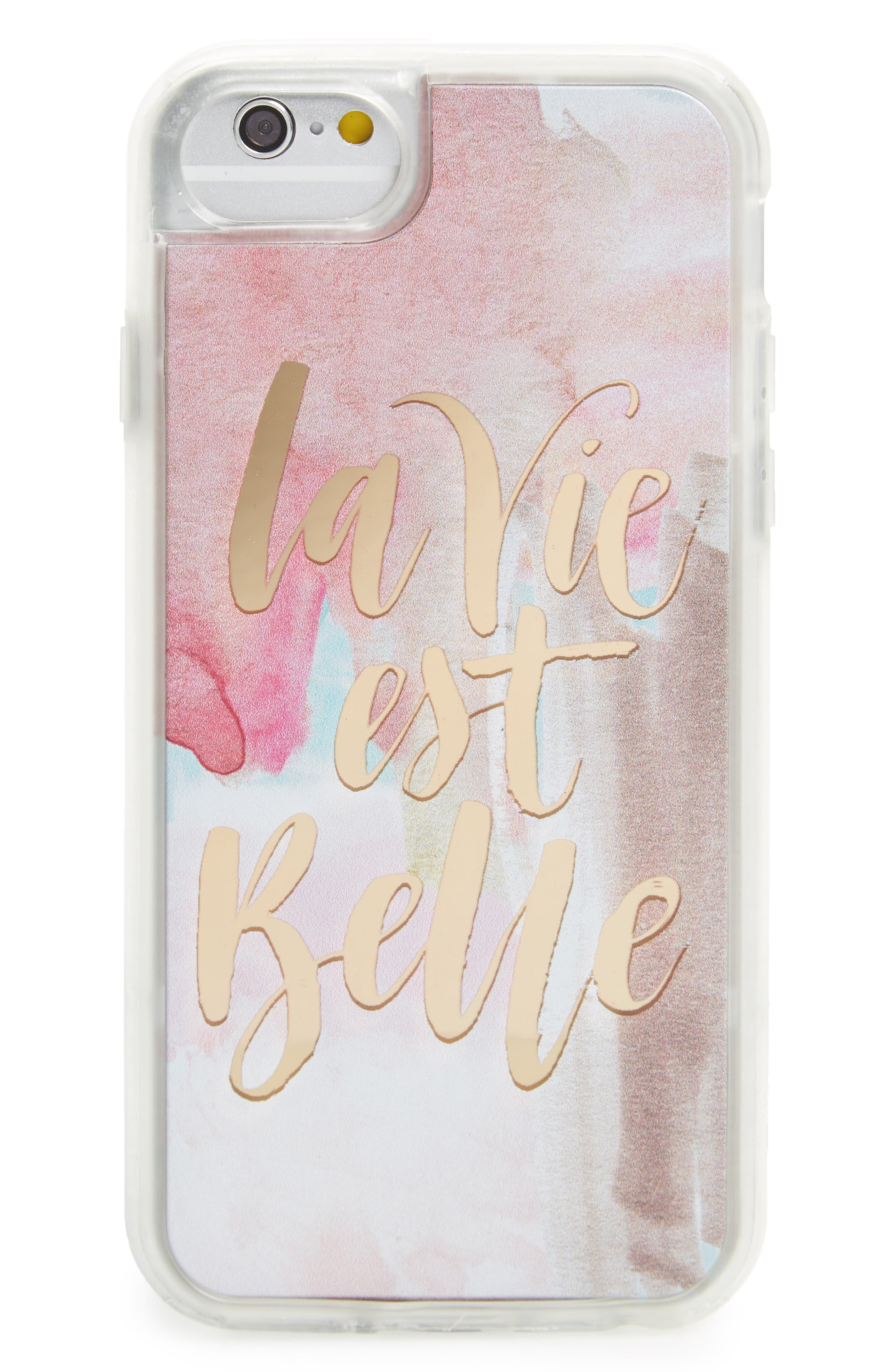 La Vie Est Belle iPhone 6/6s/7 Case,                         Main,                         color, Pink / Gold