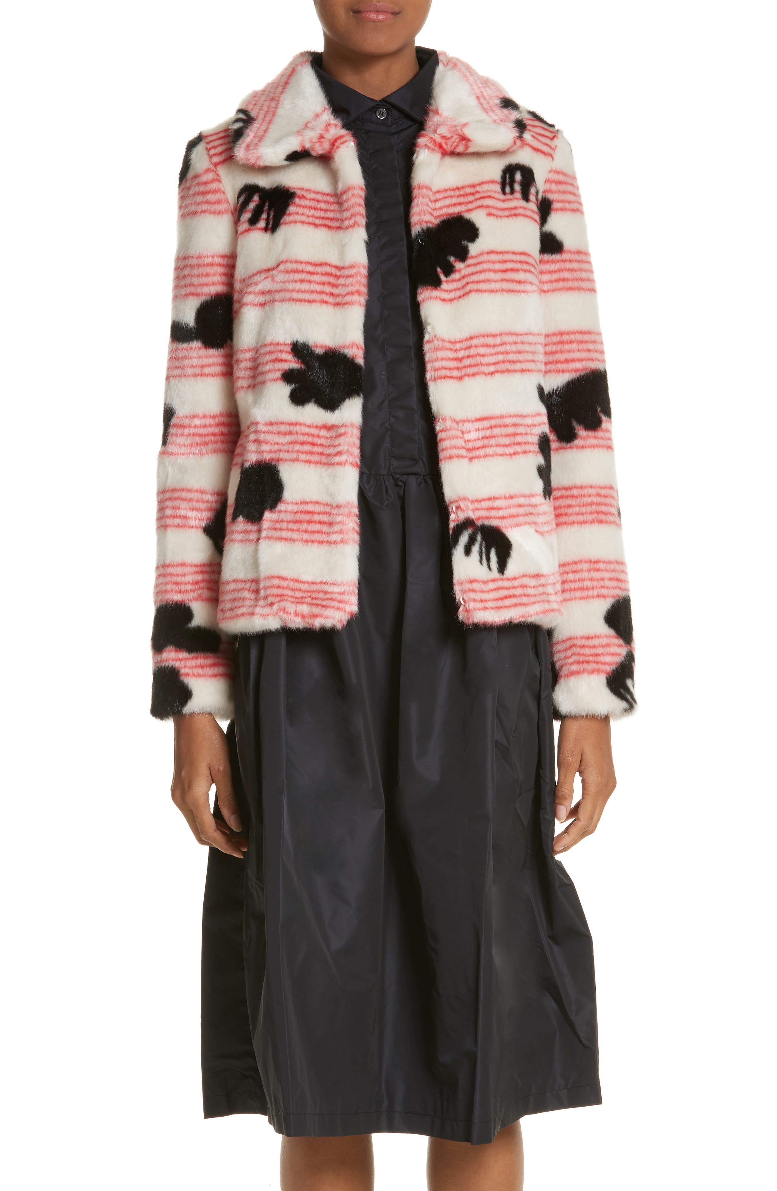 Alba Faux Fur Jacket,                         Main,                         color, Red/ White