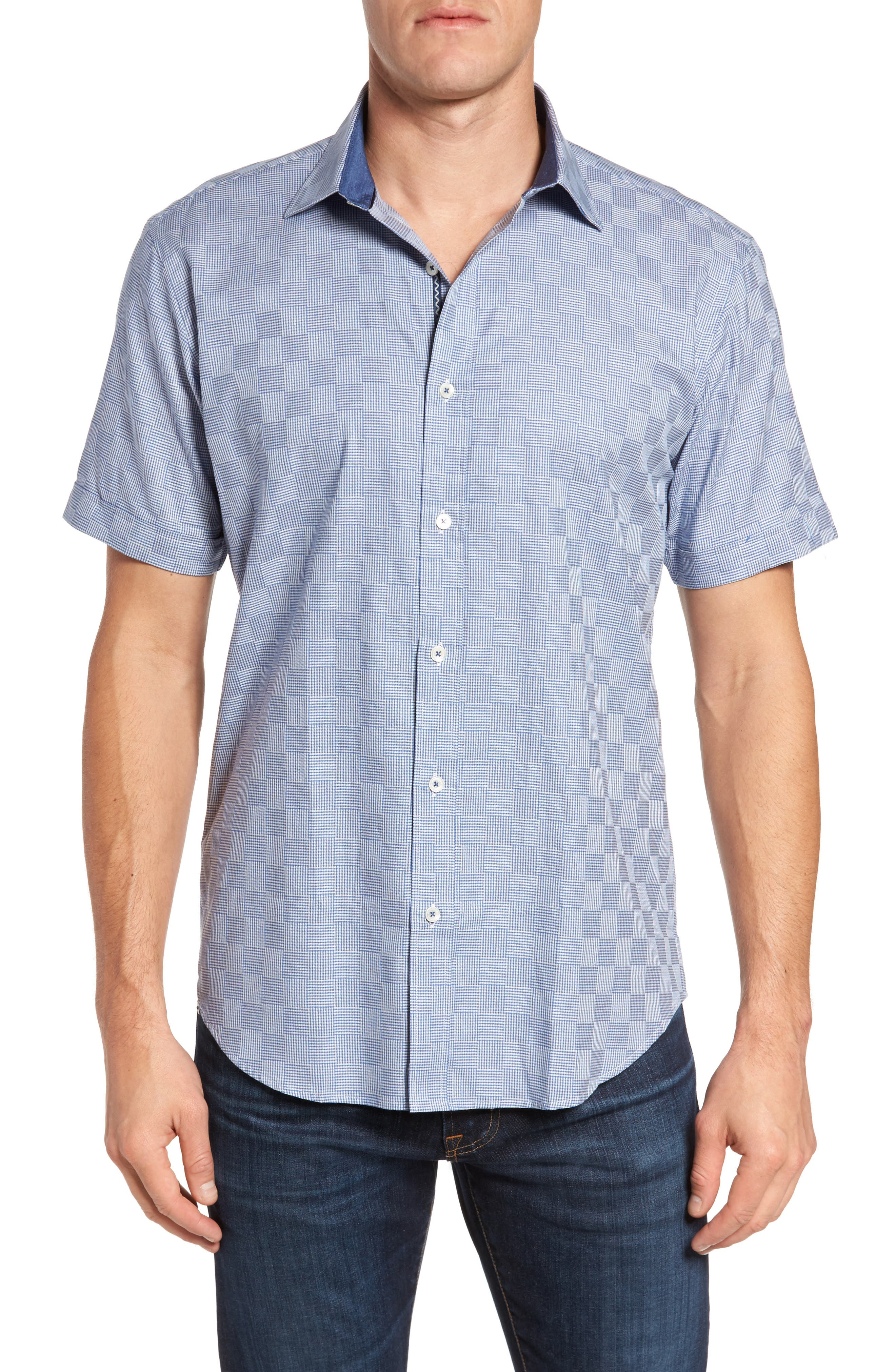 Main Image - Bugatchi Shaped Fit Houndstooth Check Sport Shirt
