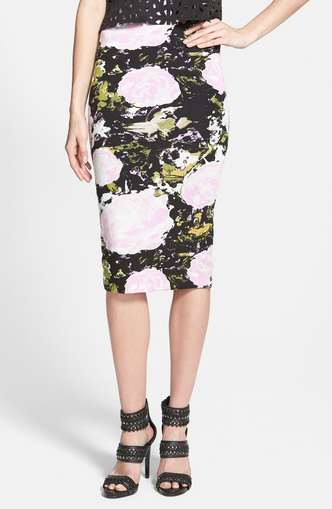 Main Image - Leith High Waist Print Midi Skirt