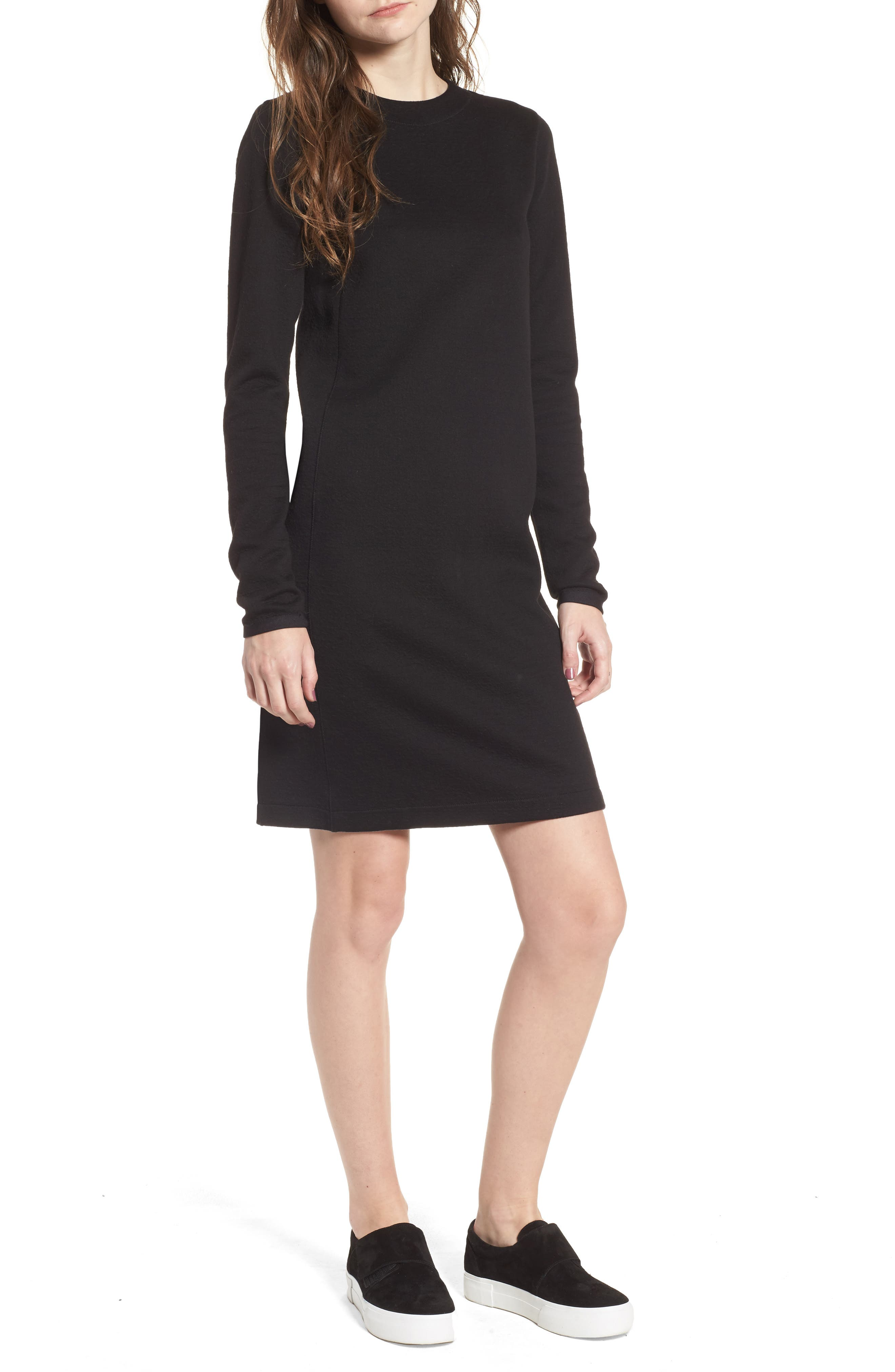 Scuba T-Shirt Dress,                         Main,                         color, Black