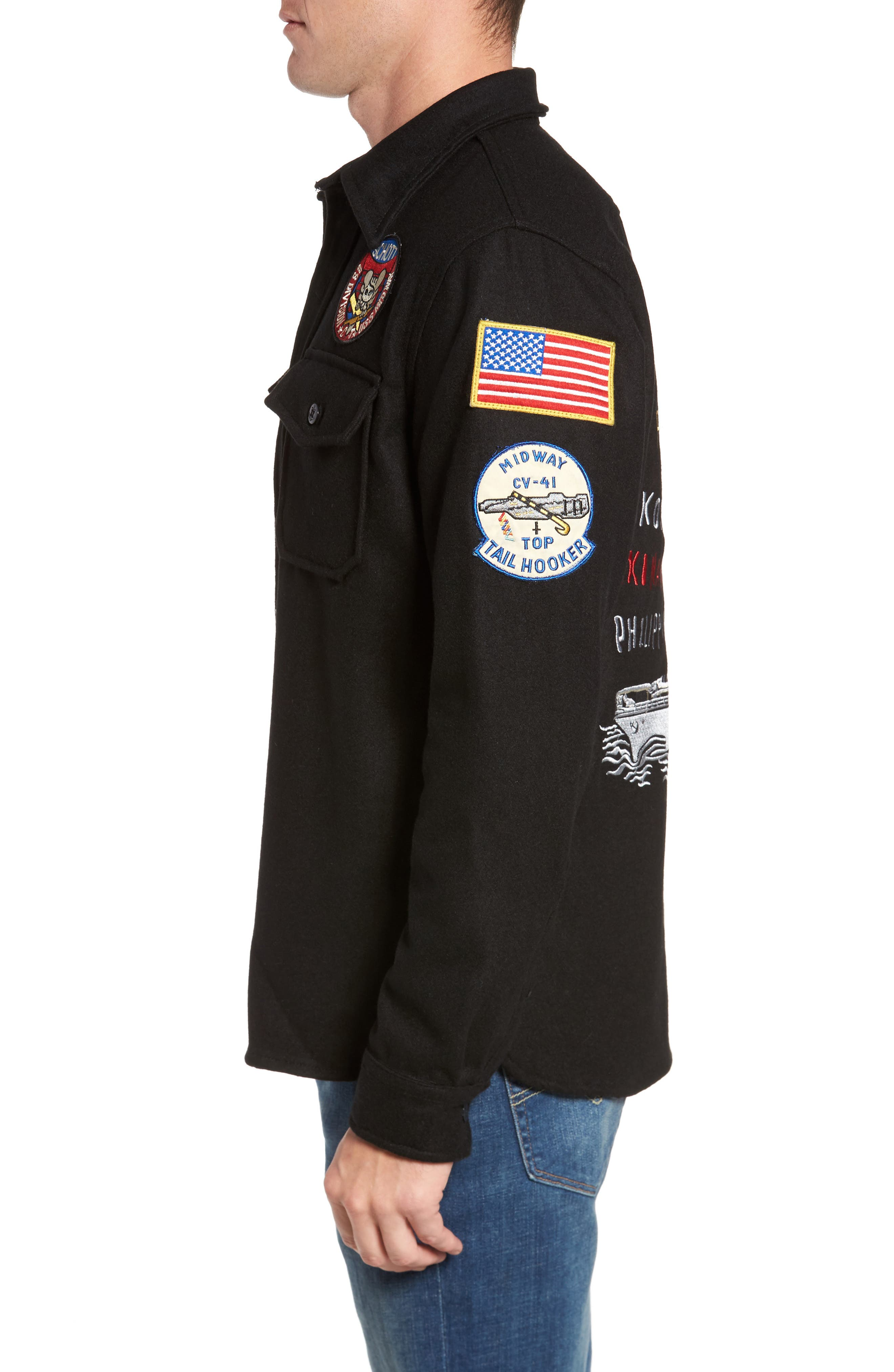 Embroidered Patch Wool Blend Jacket,                             Alternate thumbnail 3, color,                             Black