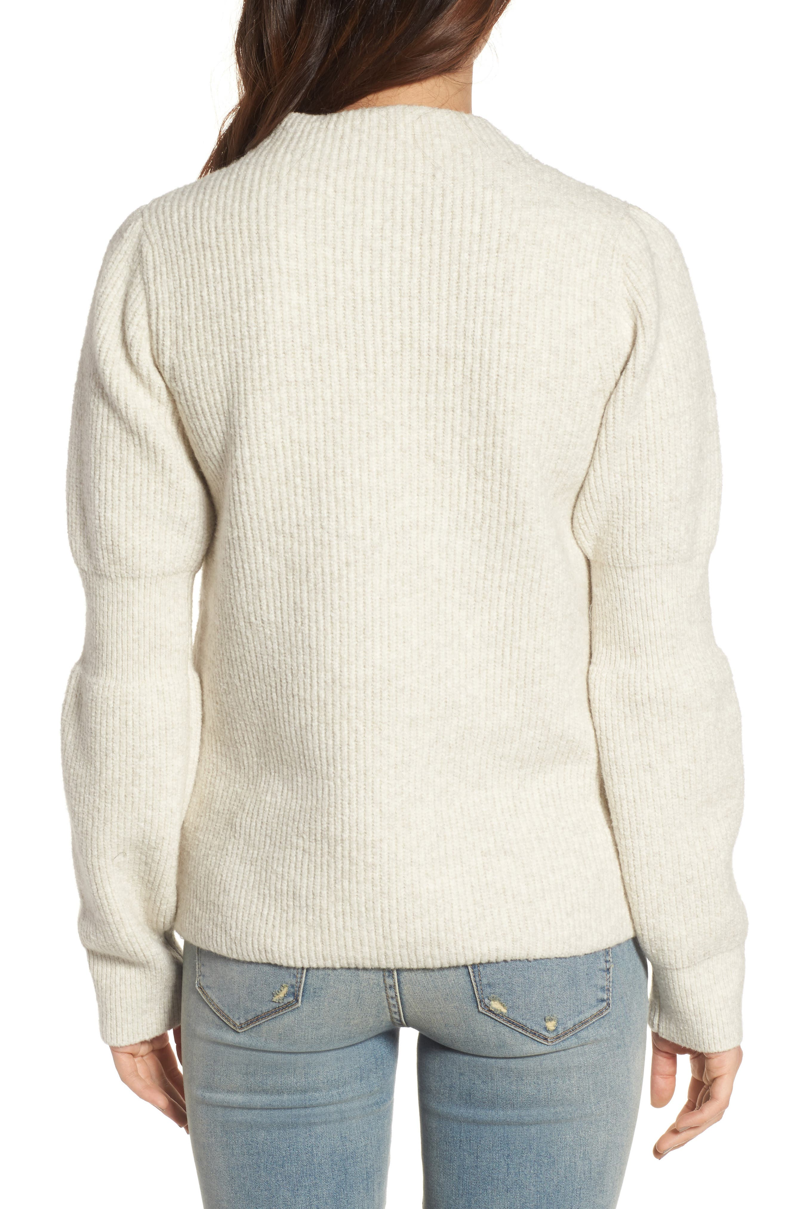 Ribbed Mock Neck Sweater,                             Alternate thumbnail 2, color,                             Beige Oatmeal Heather