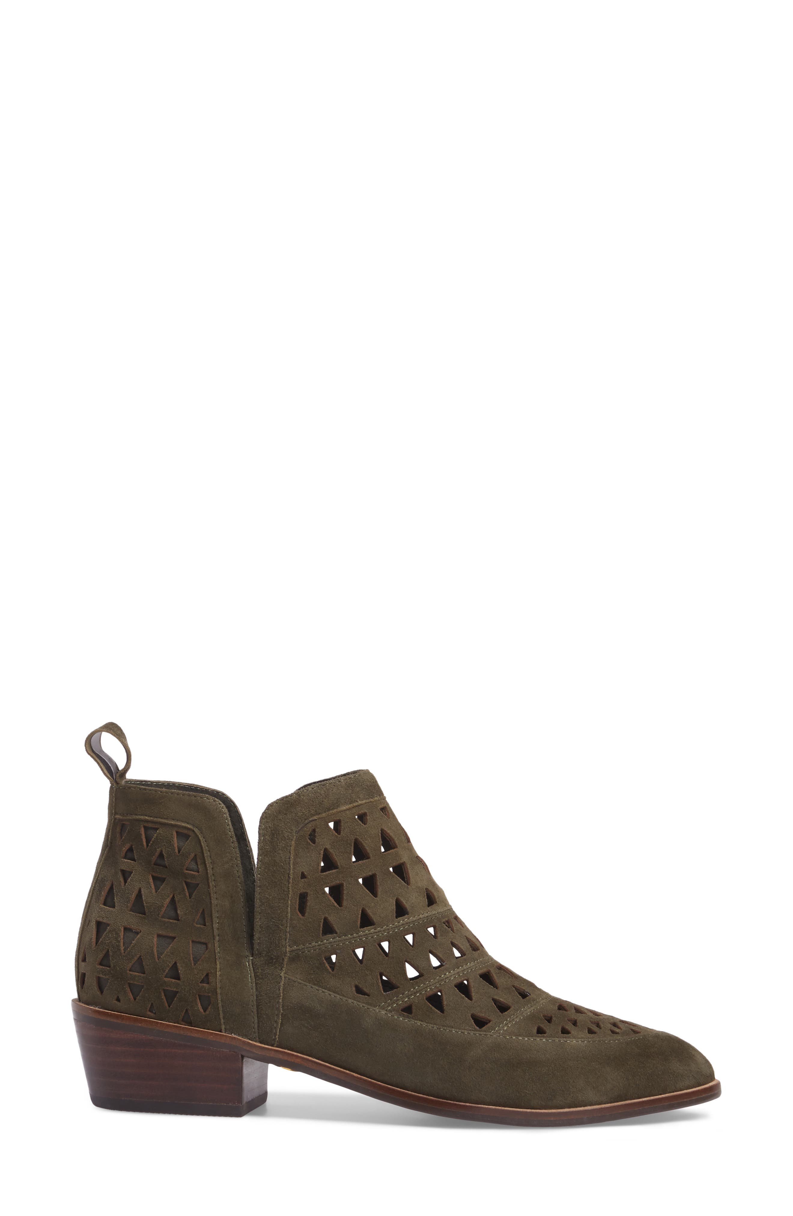 Catherine Cutout Bootie,                             Alternate thumbnail 3, color,                             Olive Suede