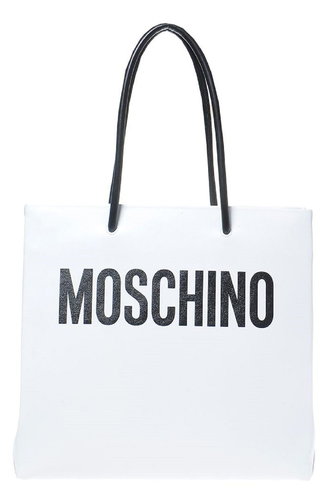 Alternate Image 1 Selected - Moschino Large Logo Transformers Print Leather Tote