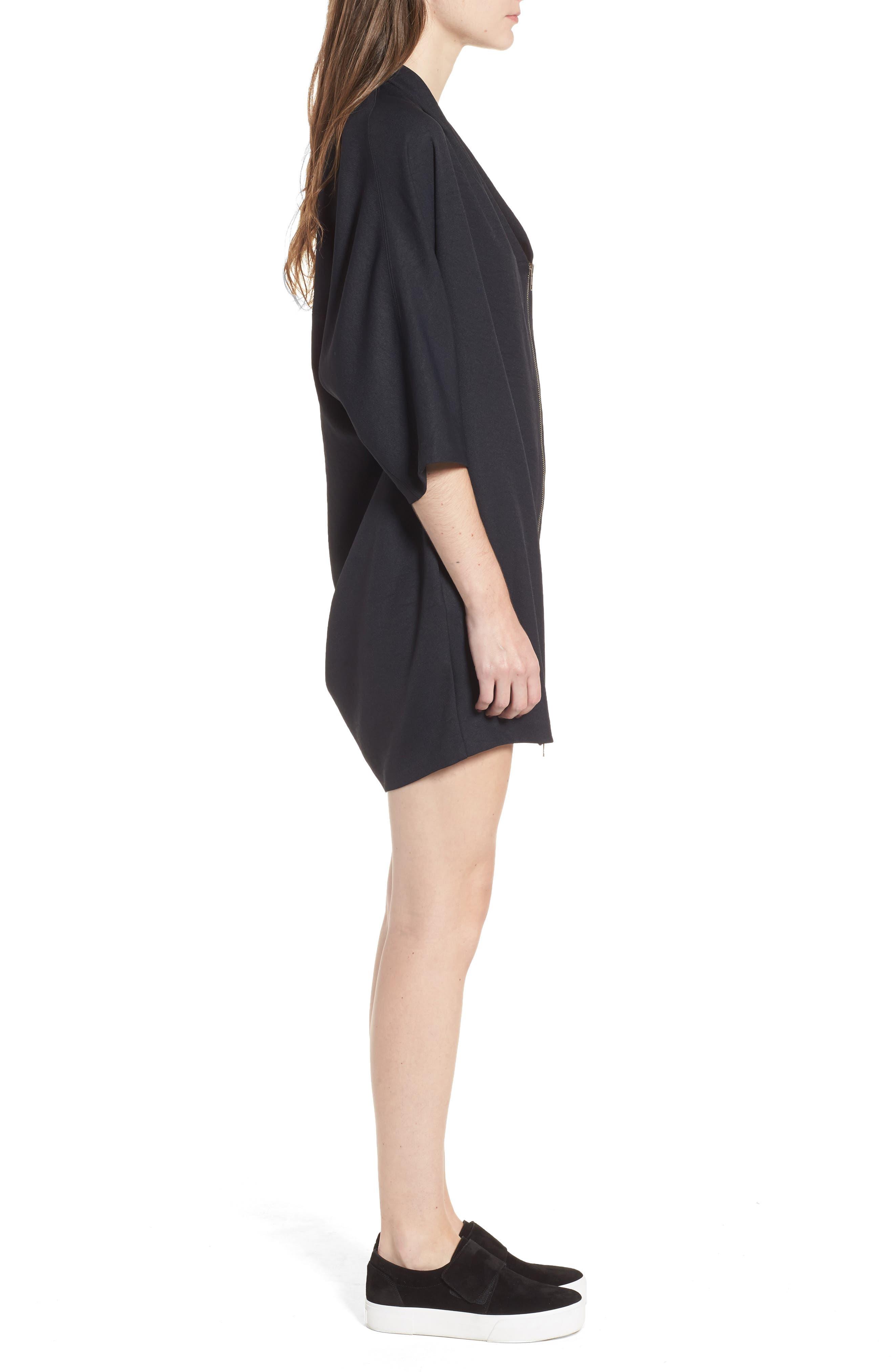 Zip Cocoon Dress,                             Alternate thumbnail 3, color,                             Black