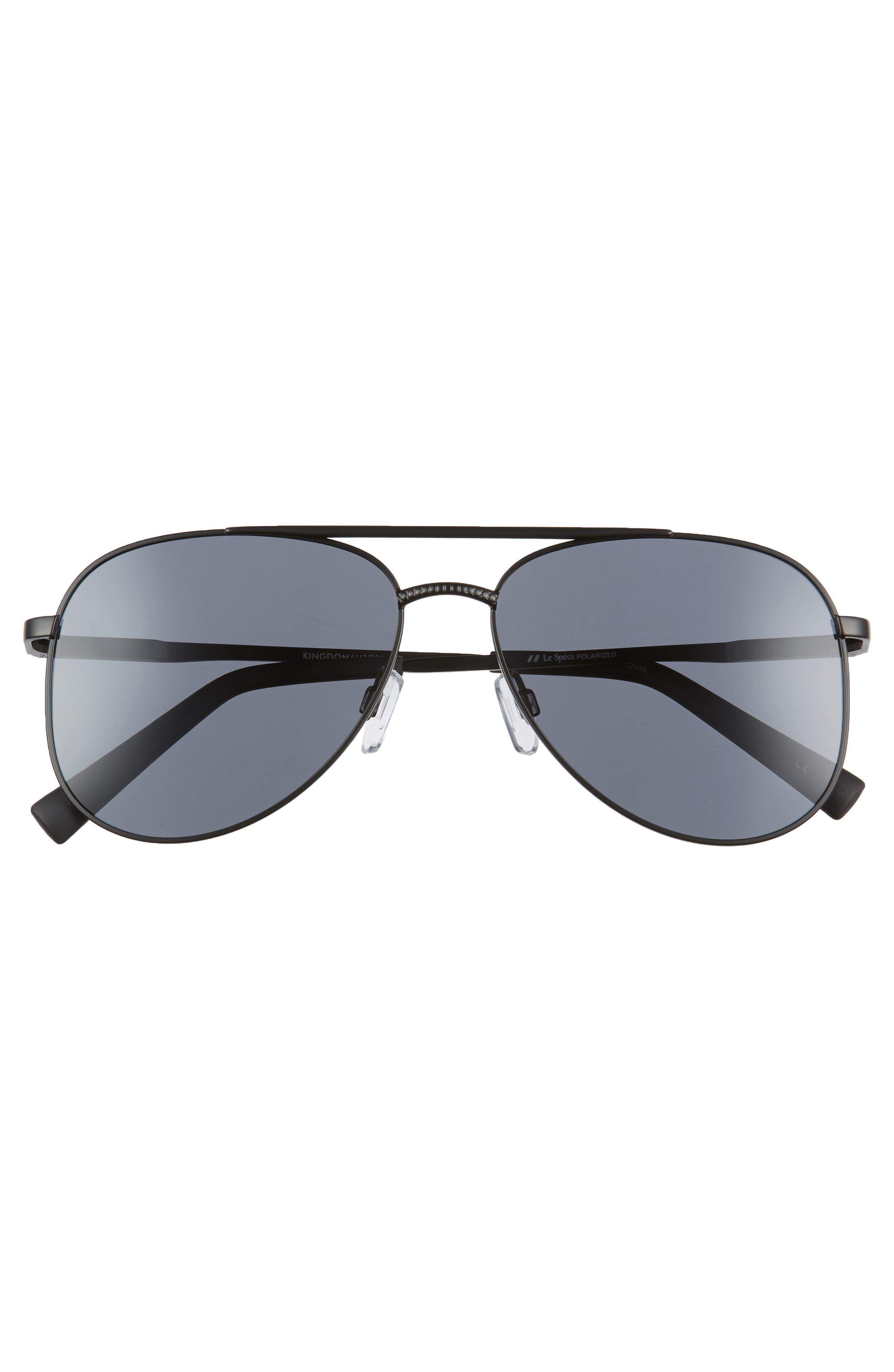 Kingdom 57mm Polarized Aviator Sunglasses,                             Alternate thumbnail 3, color,                             Matte Black